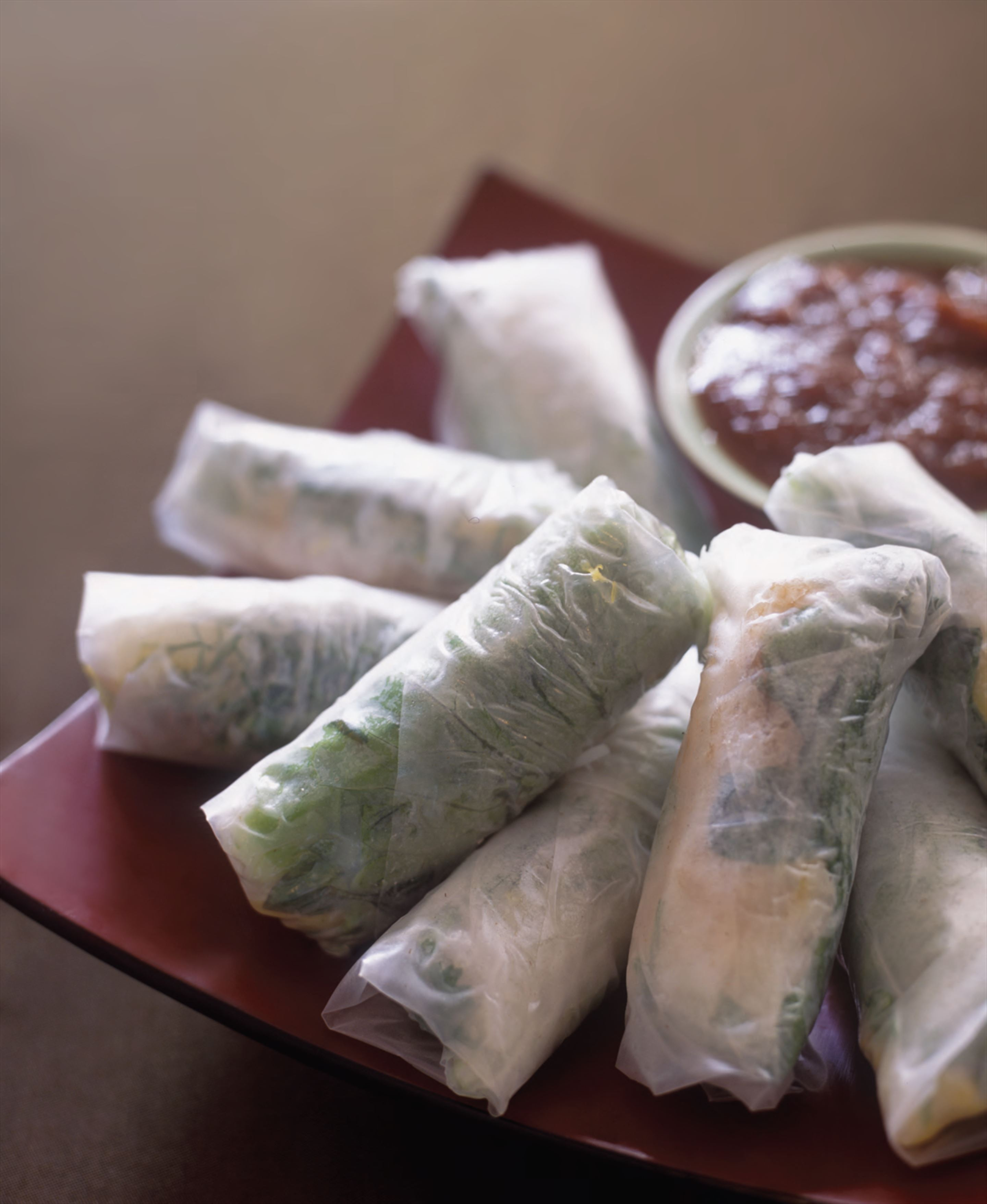 Rockling and pineapple spring rolls