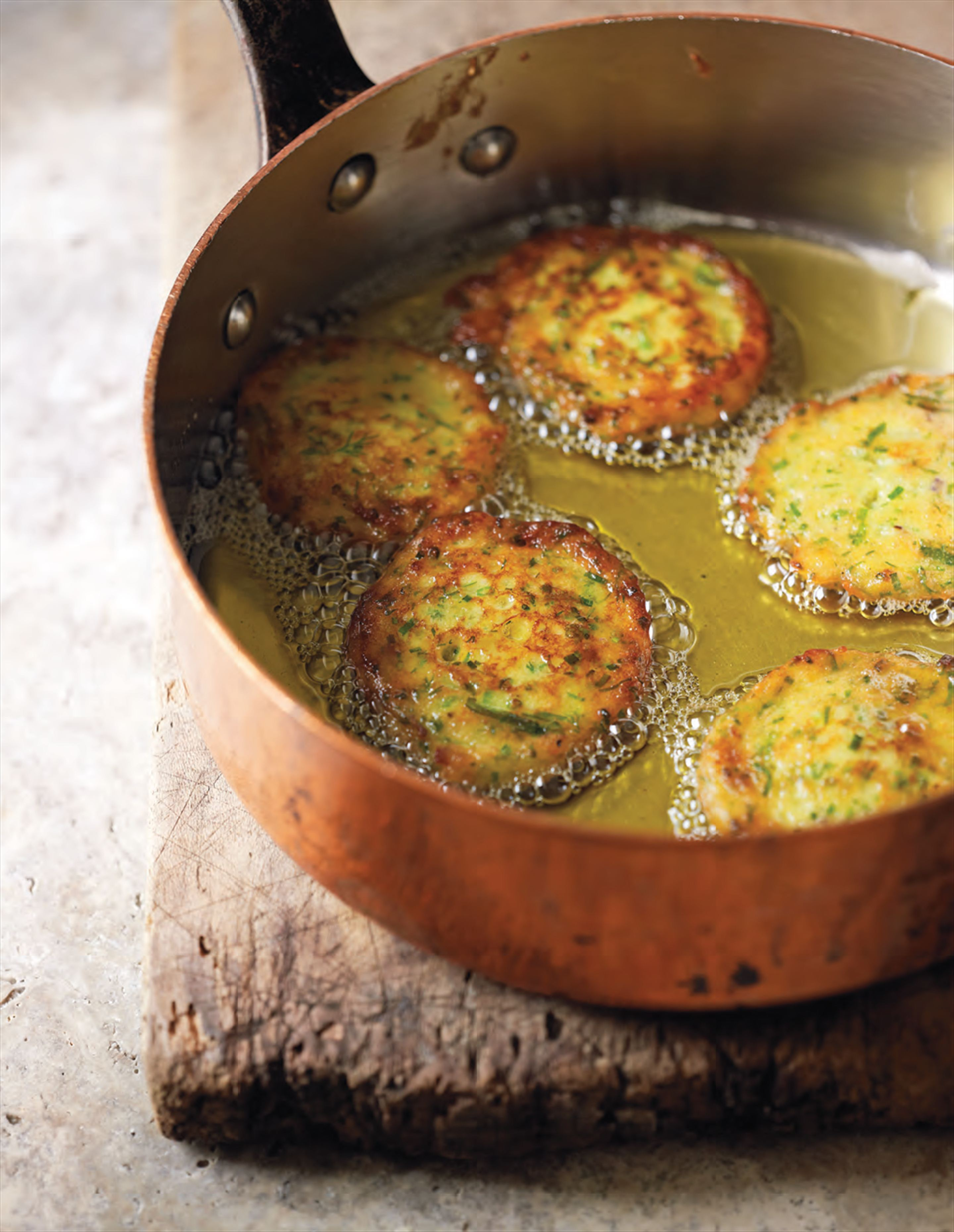 Persian potato patties with garlic chives