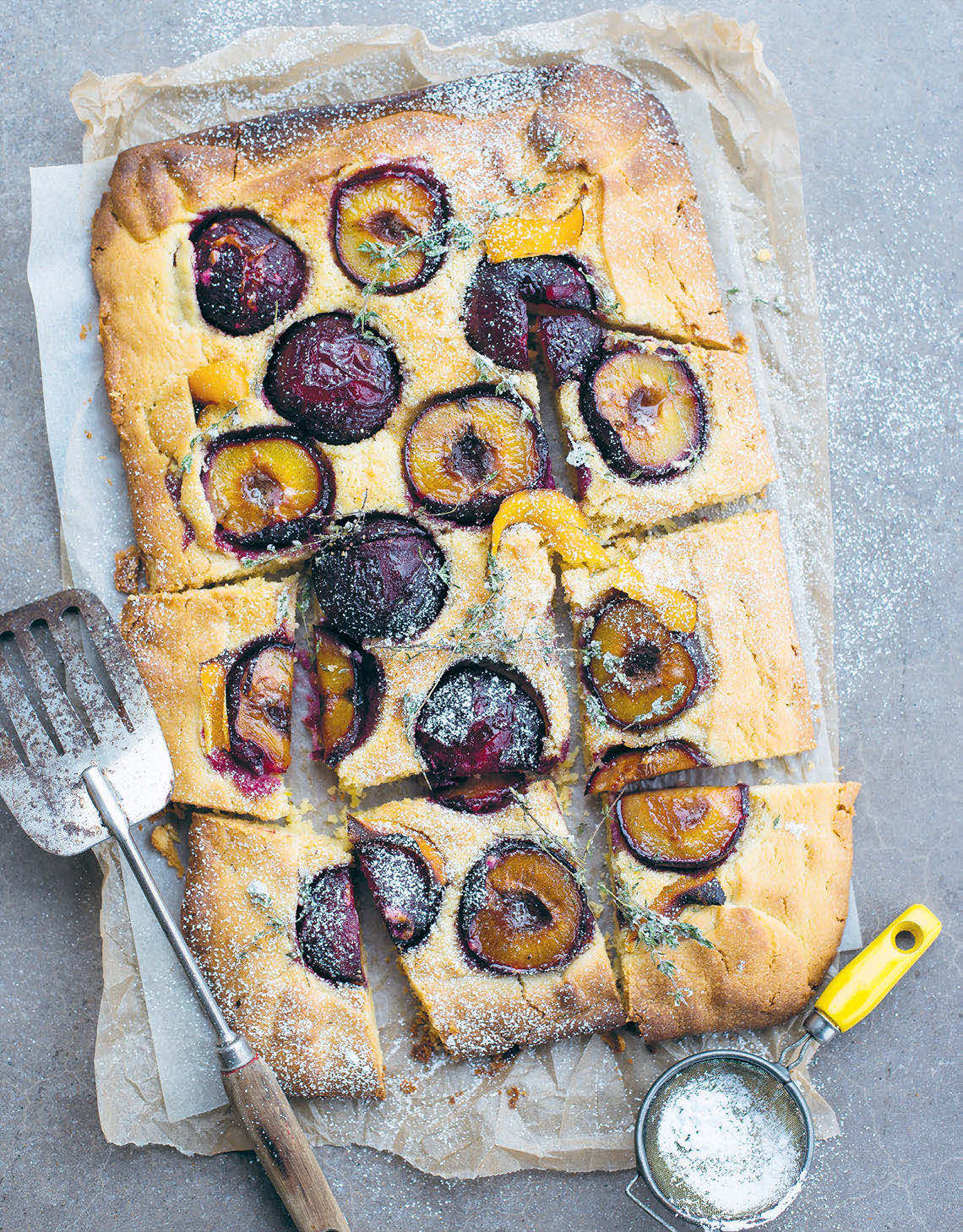 Plum, almond and orange blossom crostata with sugared thyme