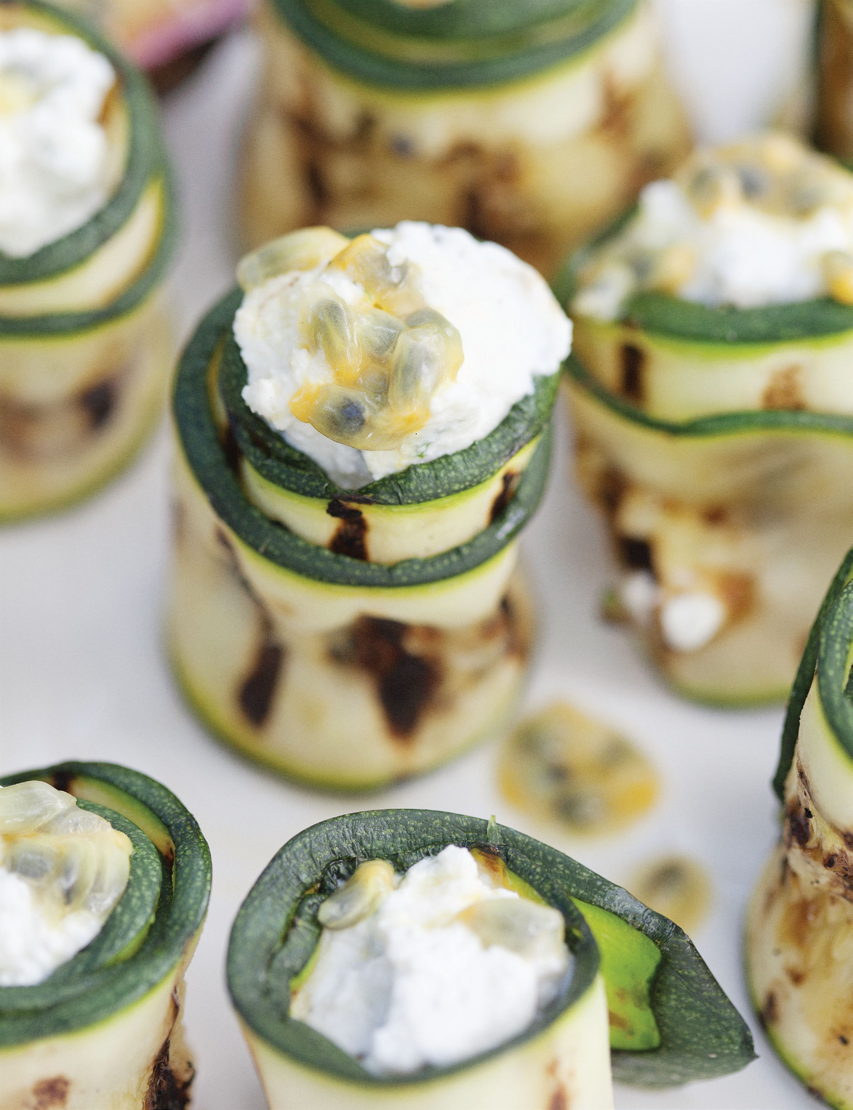 Courgette rolls with passionfruit and lemon ricotta
