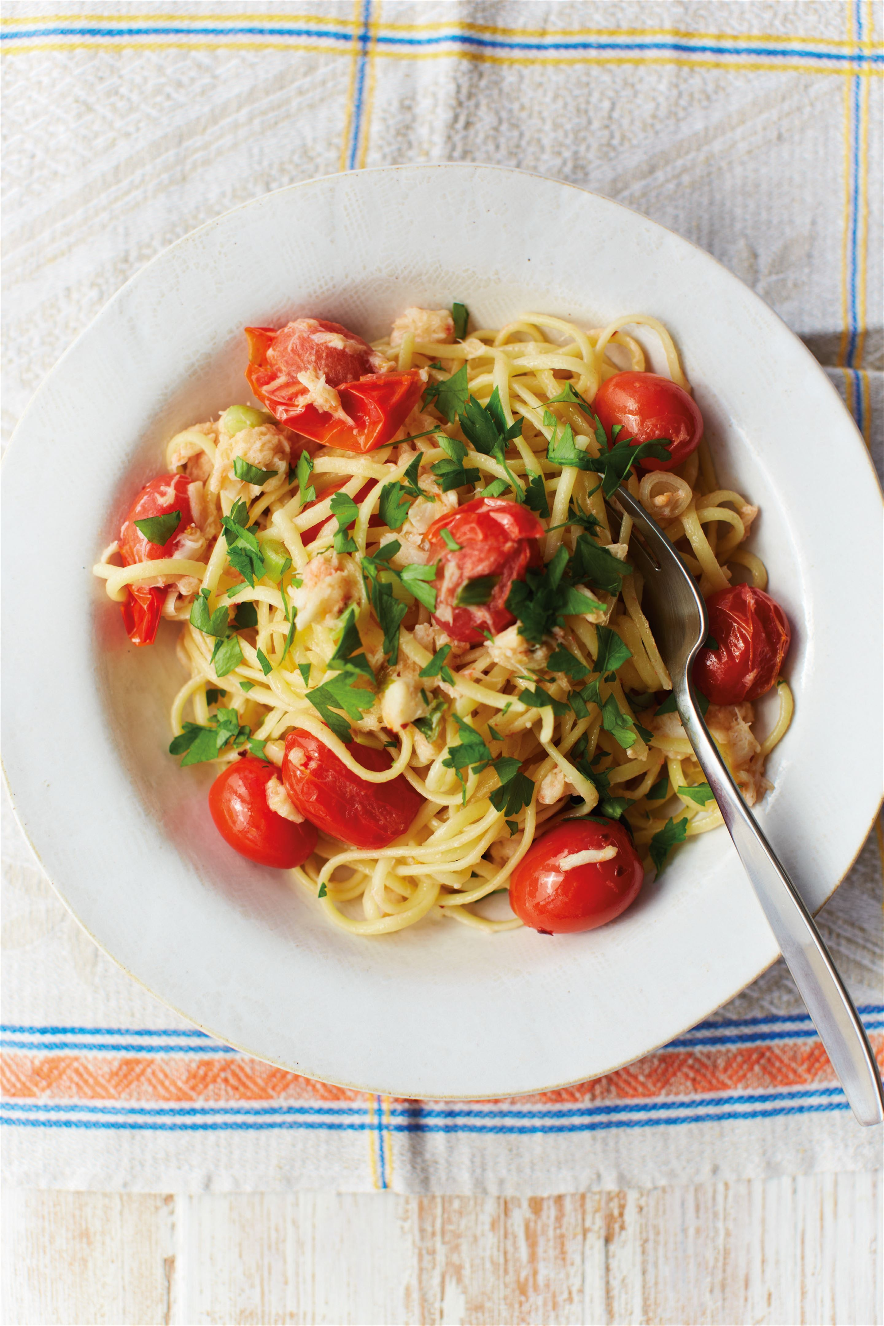 Creamily quick crab linguine