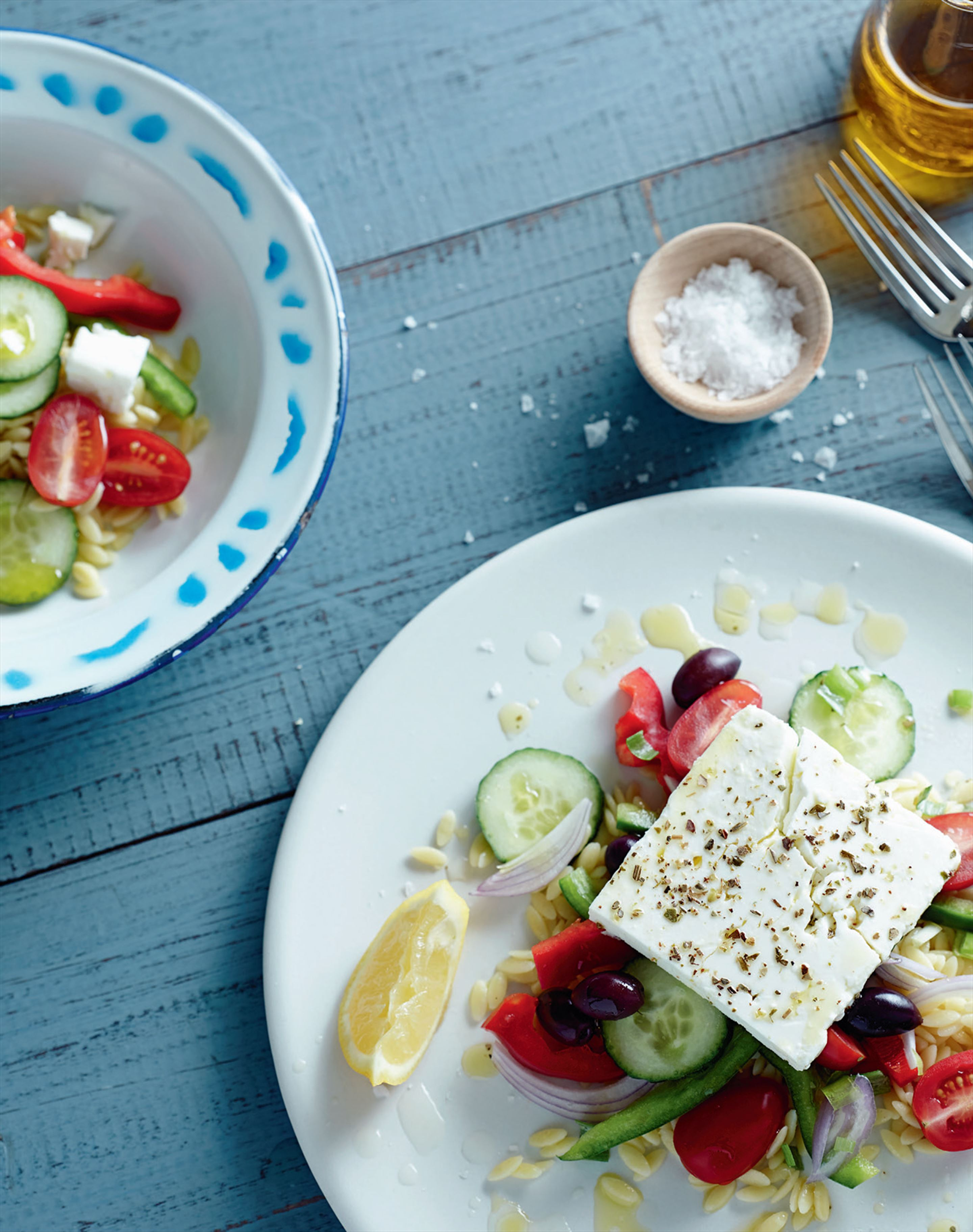 Greek salad with risoni
