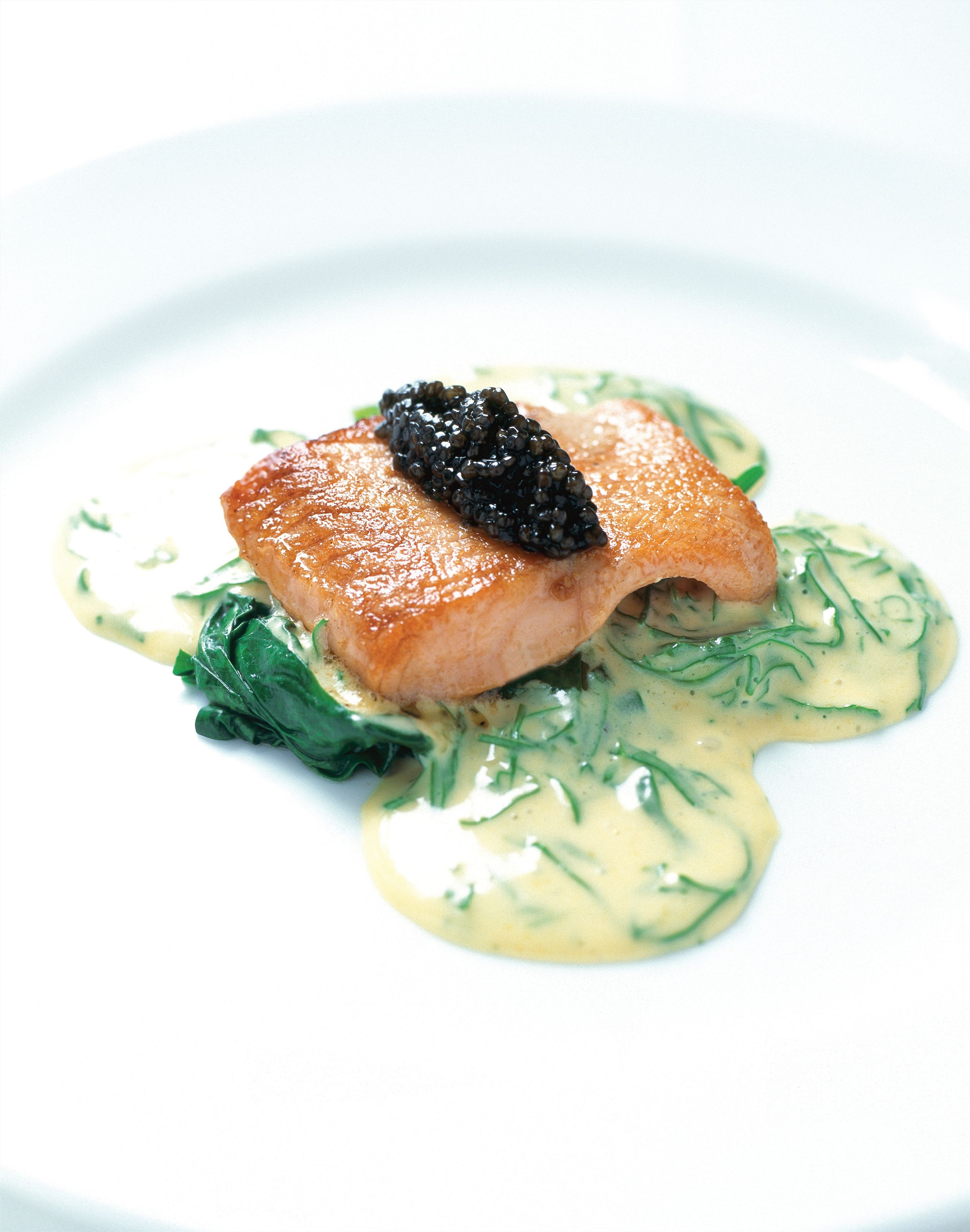 Seared saltwater char with Wilted Spinach, Champagne and Sorrel Sabayon, Iranian Osietra Caviar