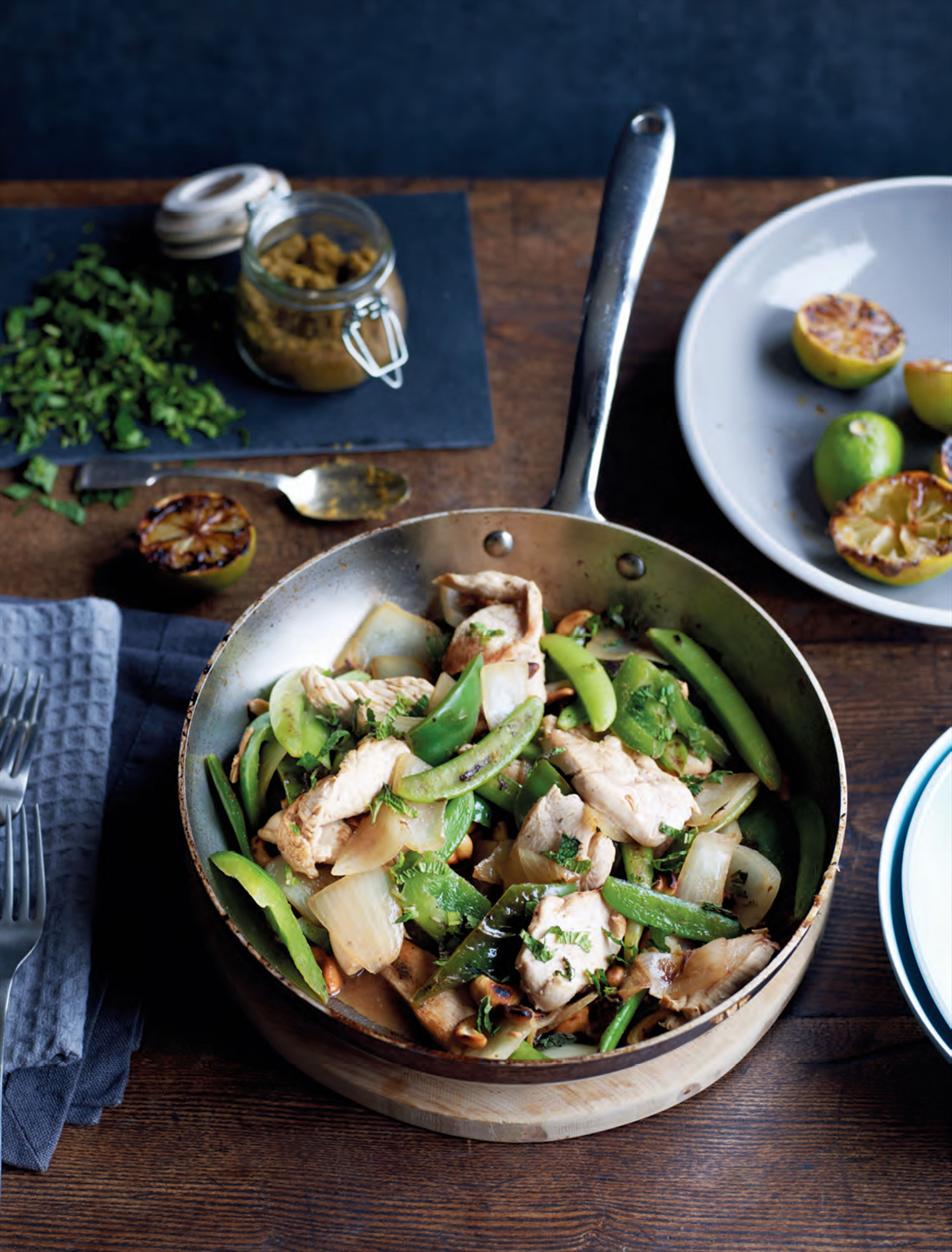 Thai chicken & cashew stir-fry with charred limes