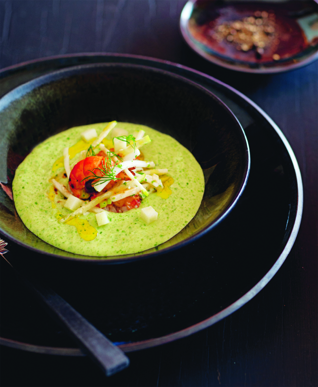 Chilled wild sorrel soup with dressed yabby and celeriac