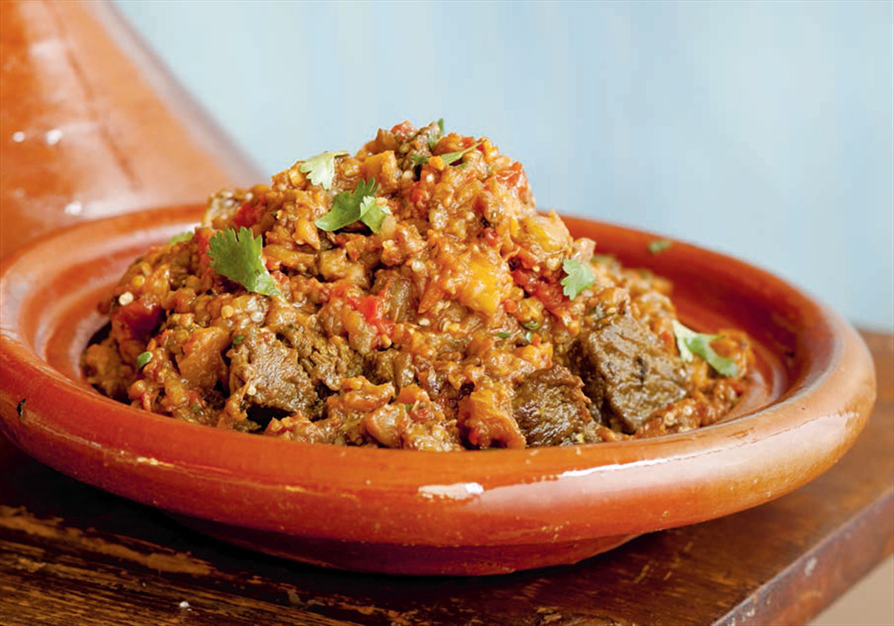 Lamb tagine with tomatoes and aubergine