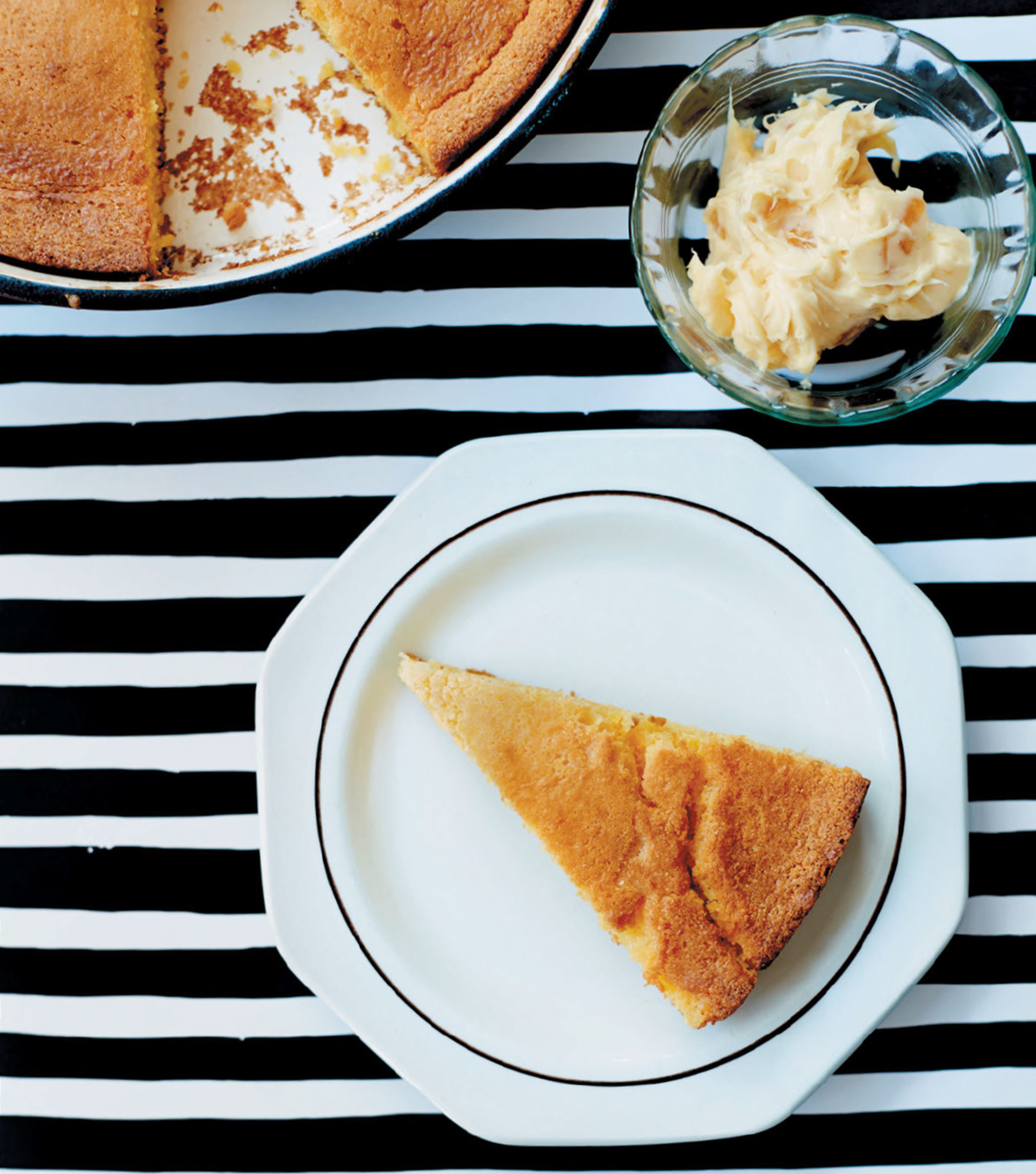 Skillet cornbread with burnt honey butter