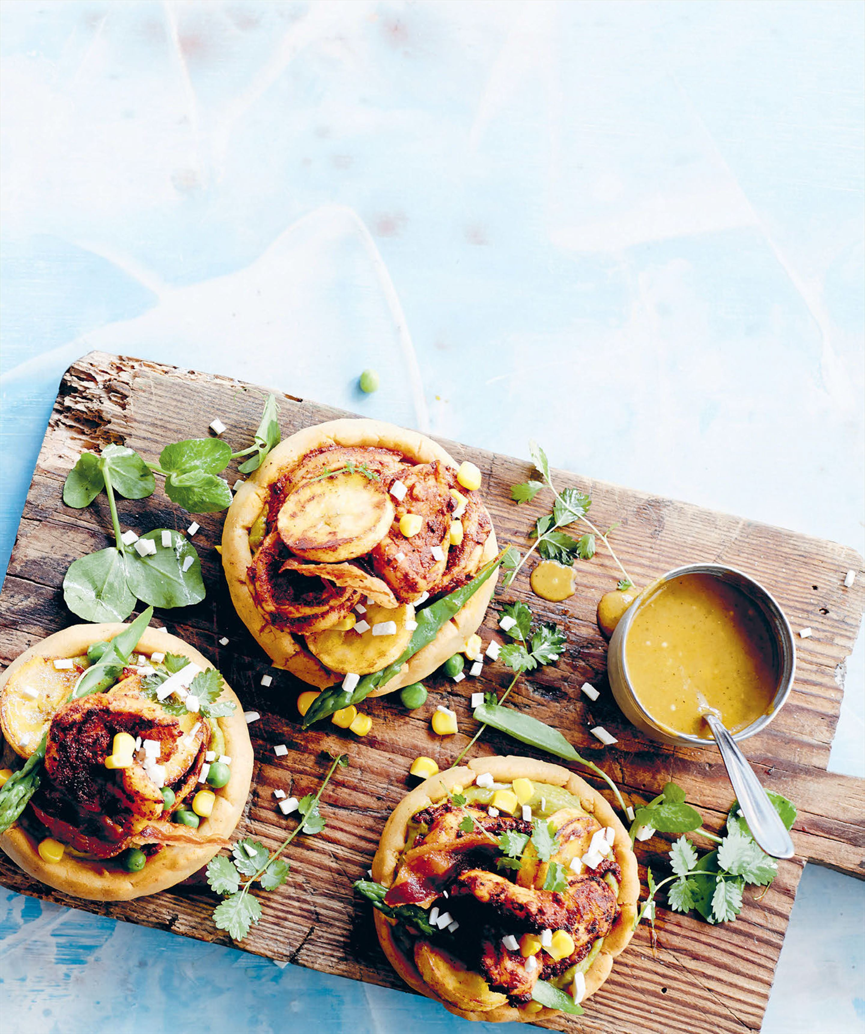 Prawn plantain & corn sopes