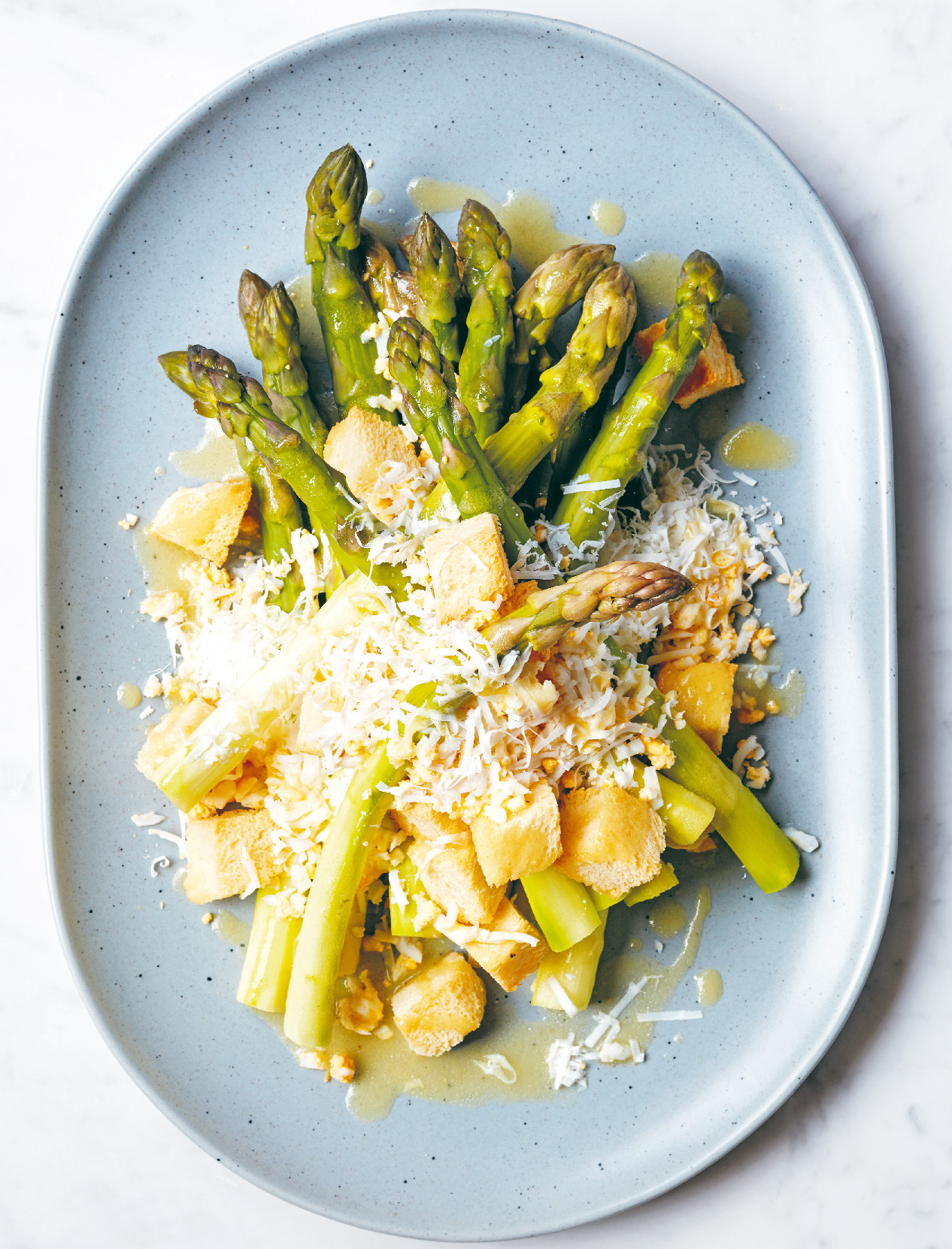Asparagus with challah croutons and duck egg