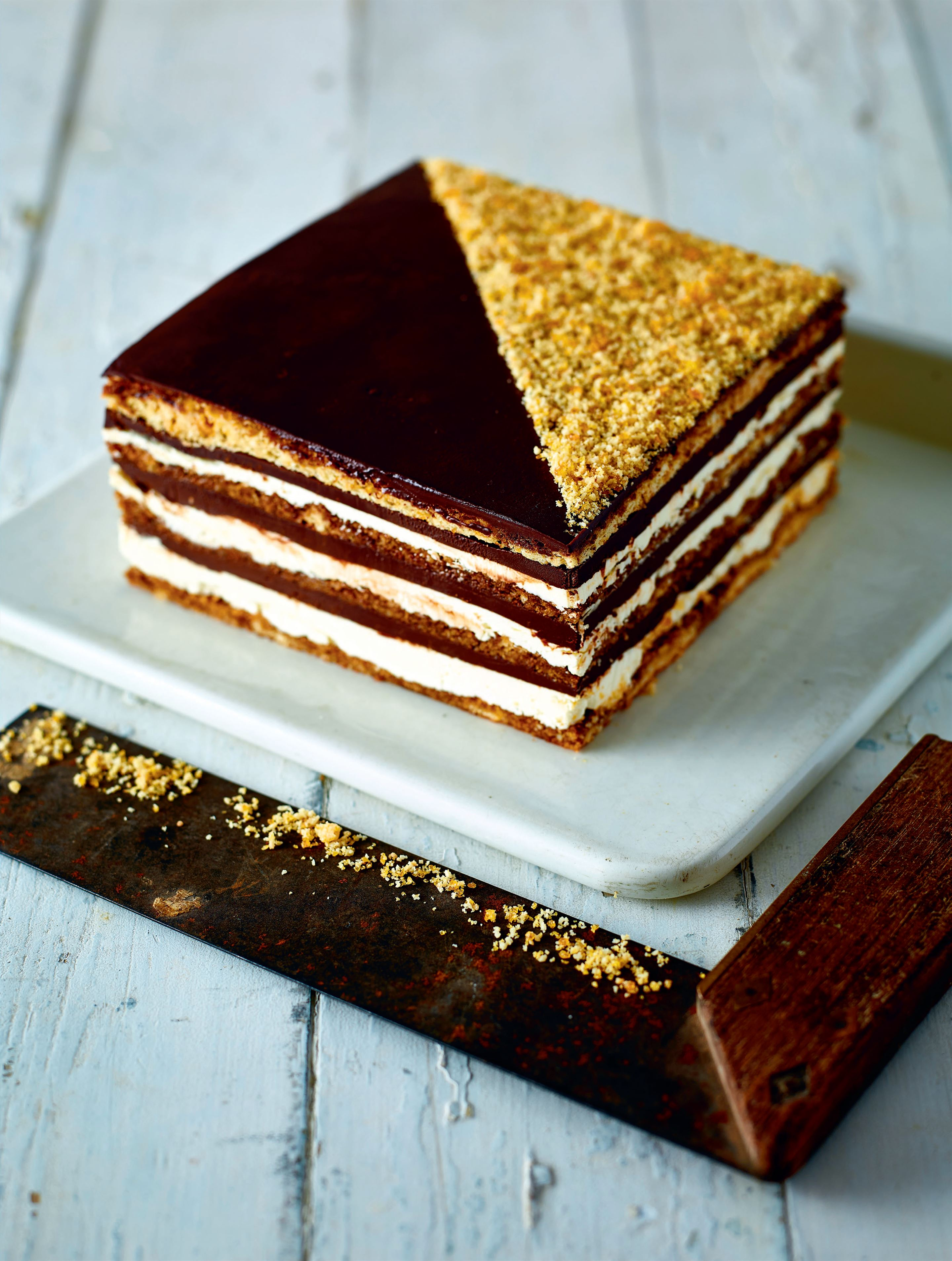 Hazelnut chocolate opera cake