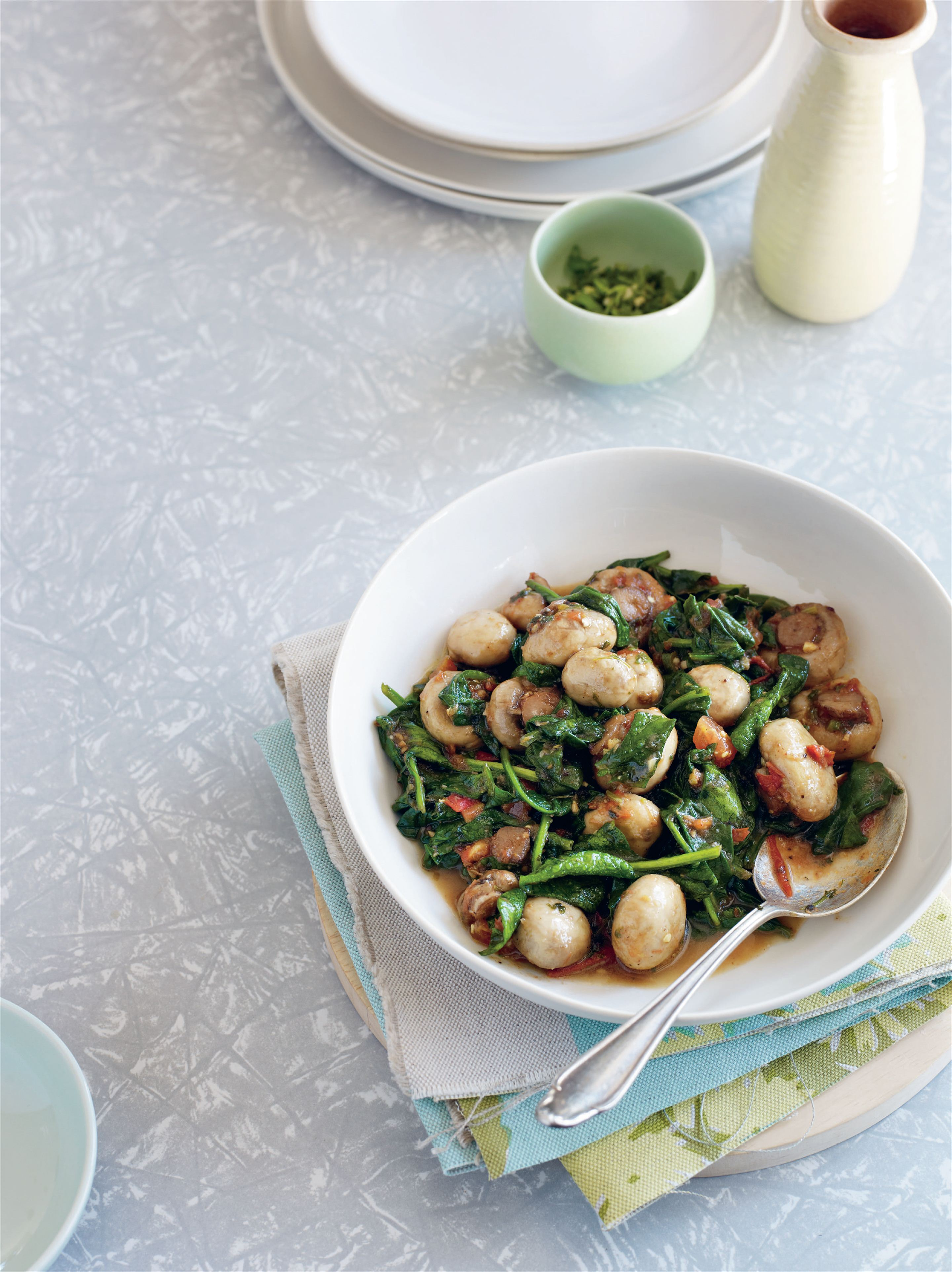 Karahi-style baby spinach and mushrooms