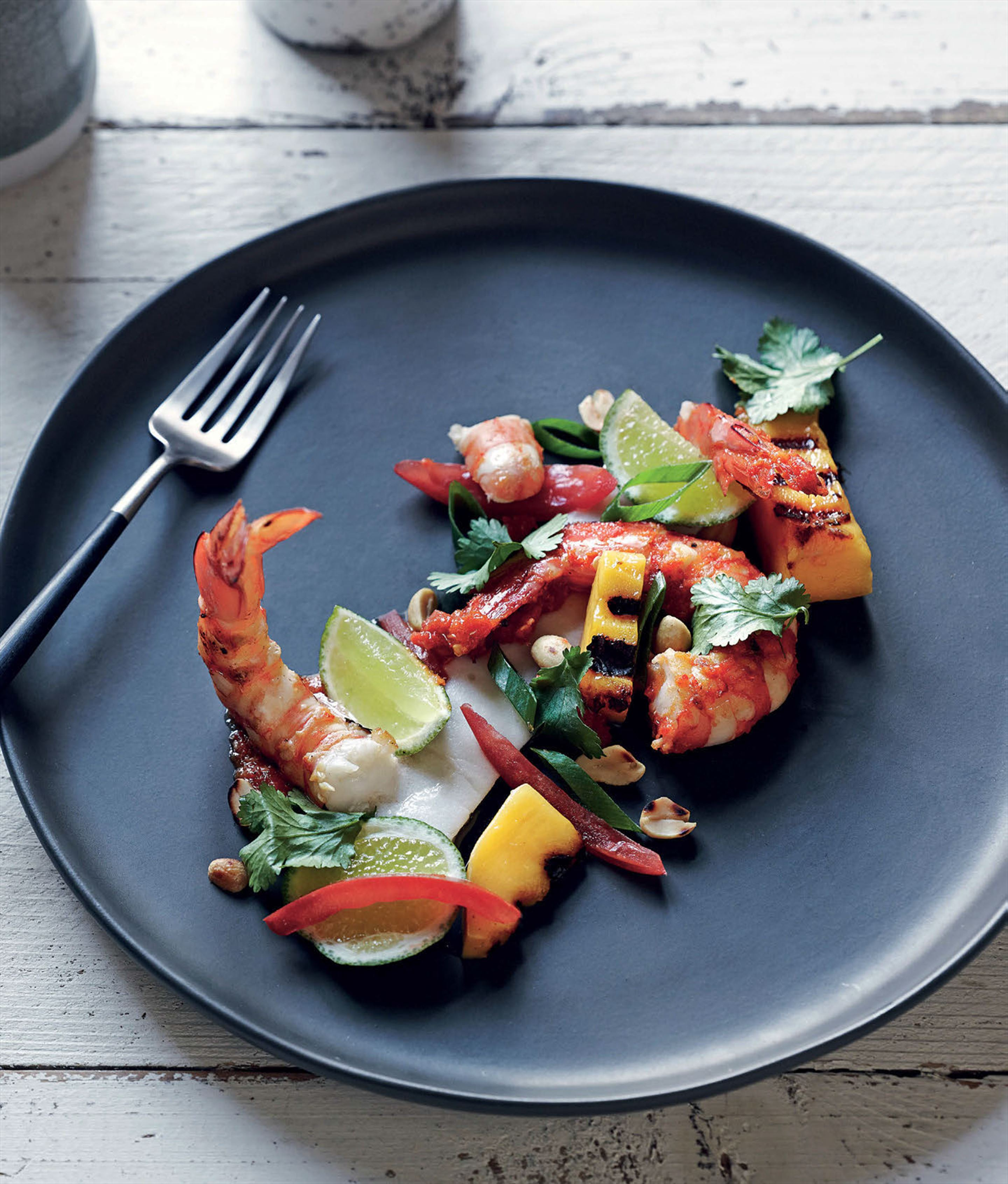 Thai red prawns with coconut–lemongrass panna cotta
