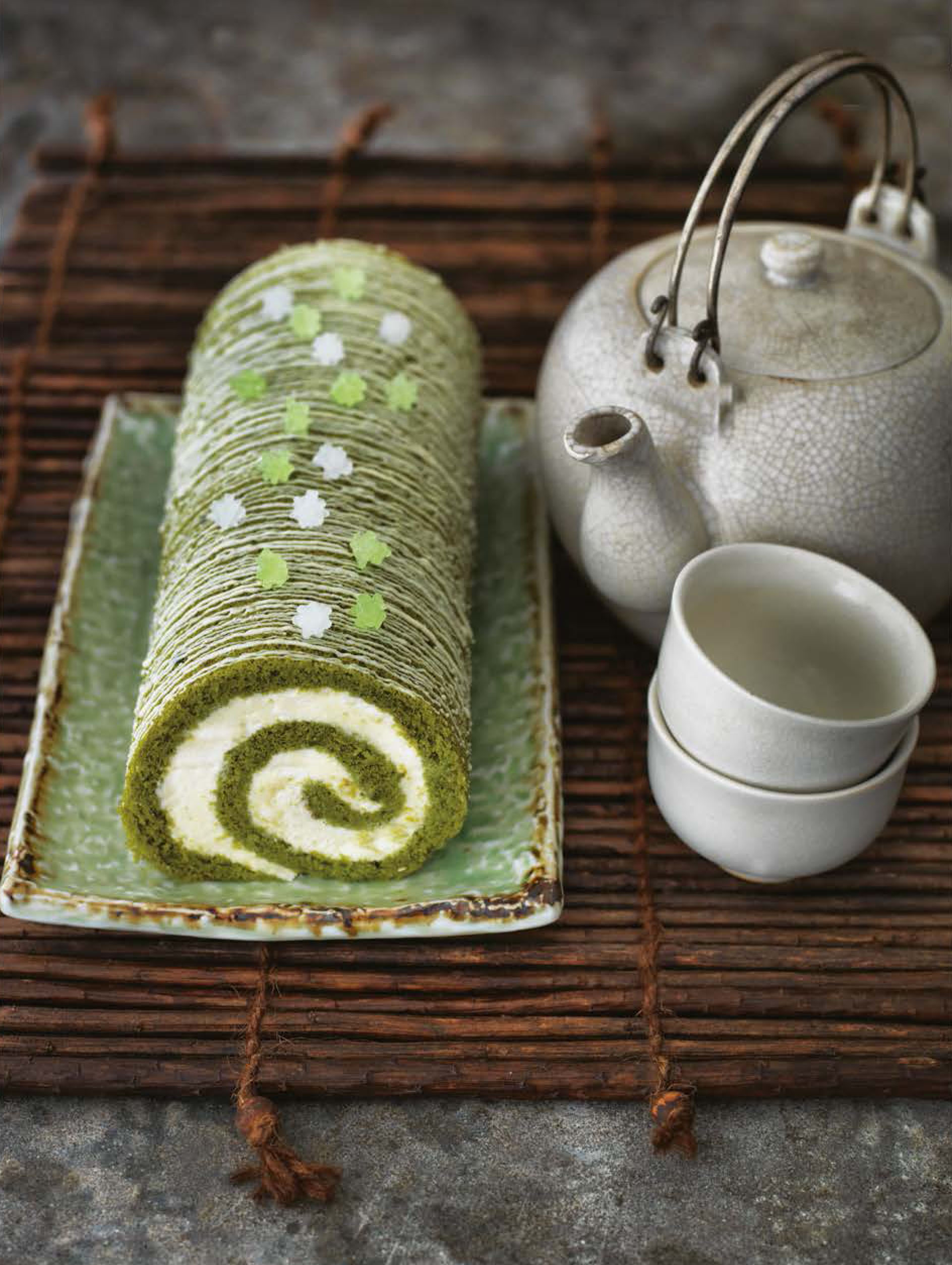 Green tea roulade