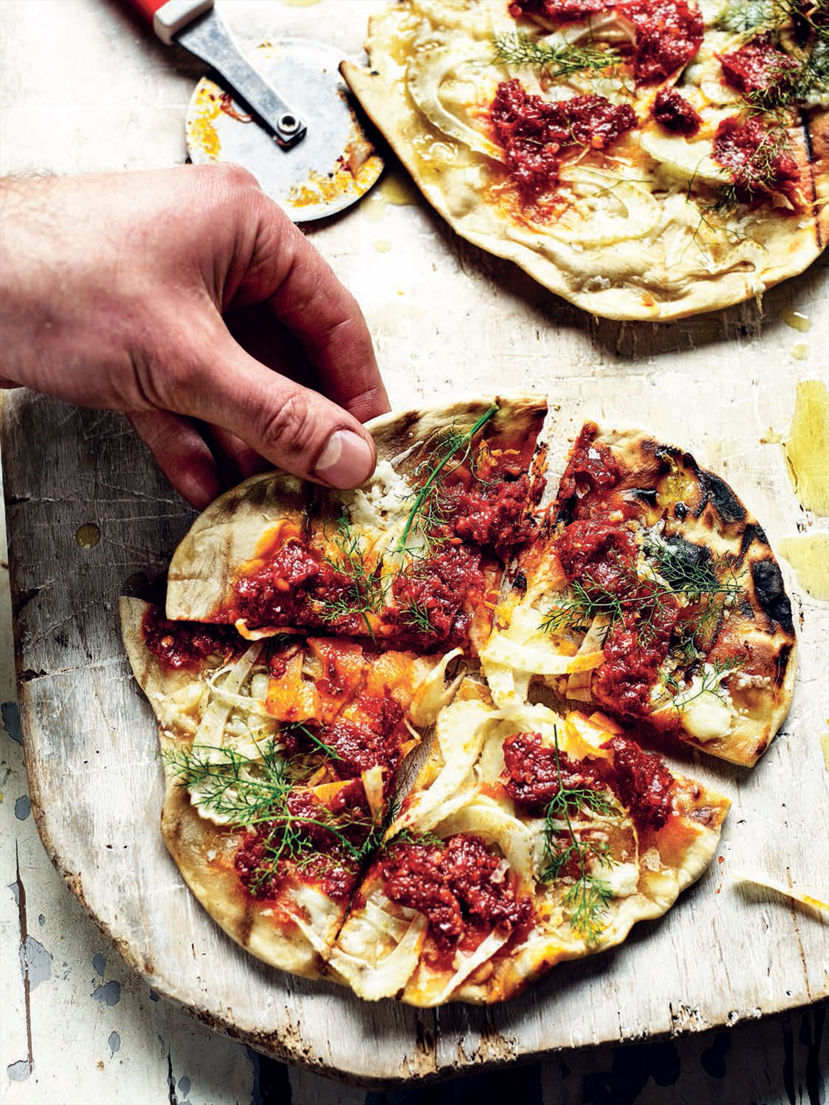 Pizzette with nduja, pecorino and fennel