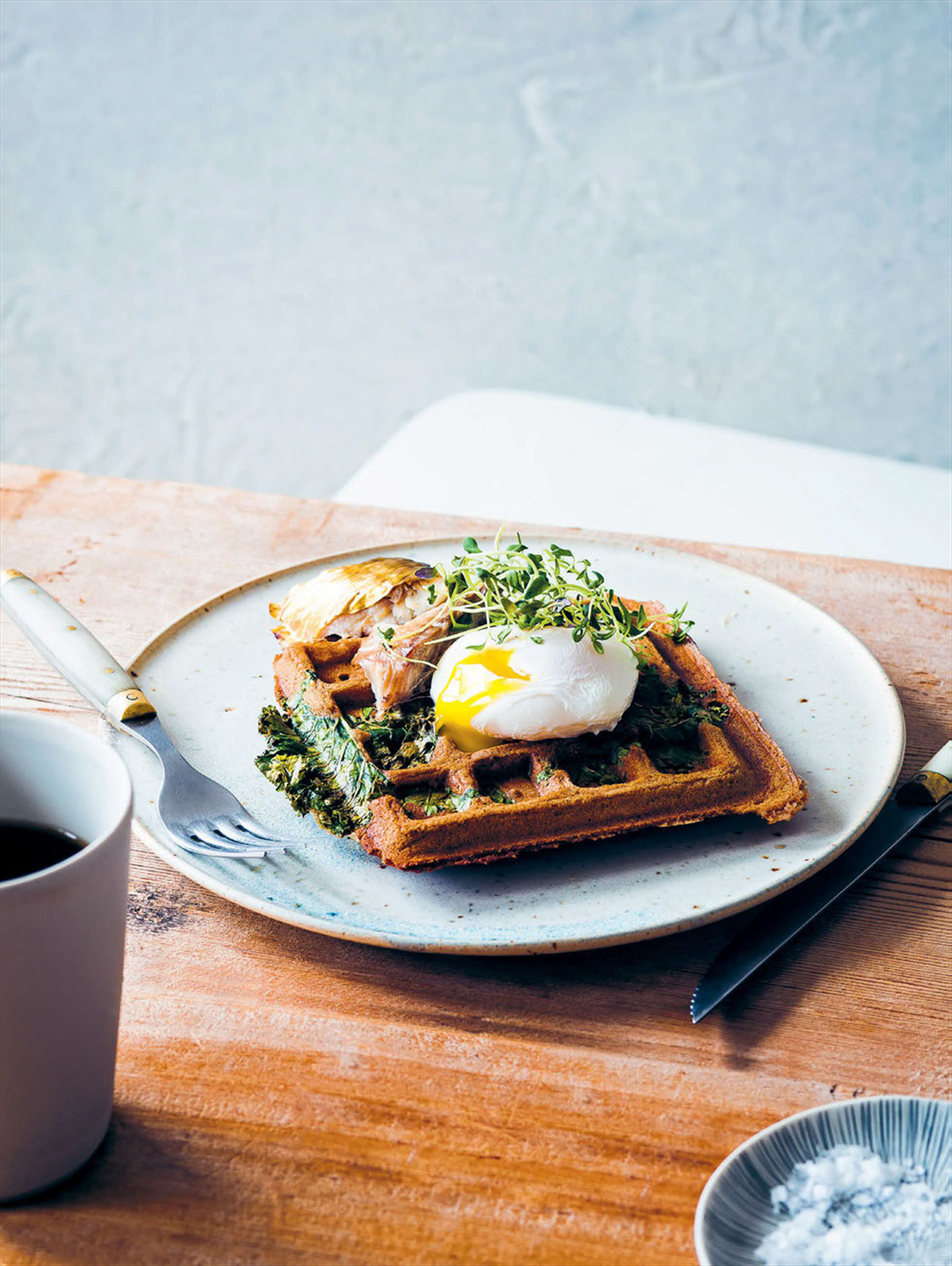 Kale & buckwheat waffles with eggs
