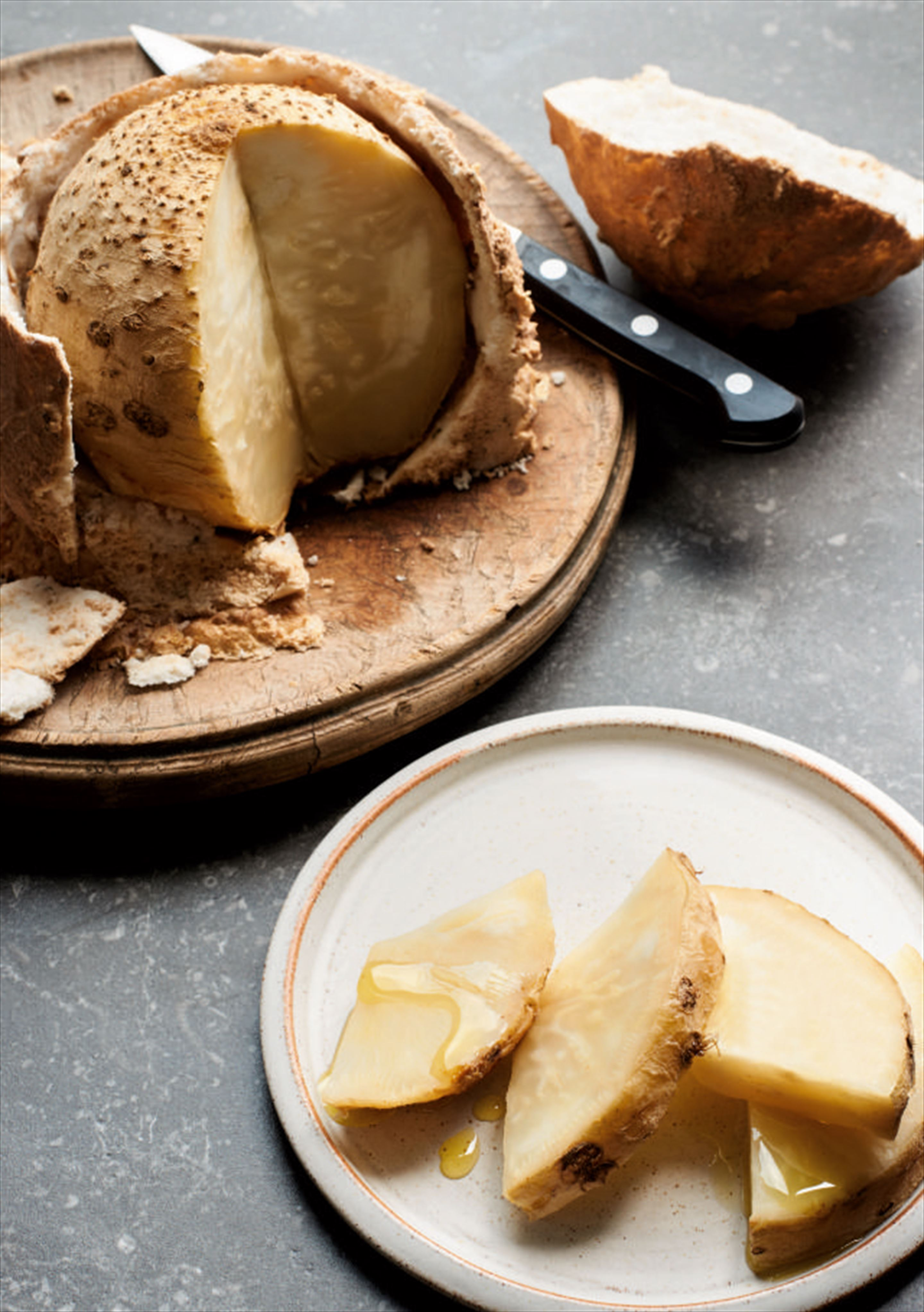 Celeriac baked in a salt and thyme crust