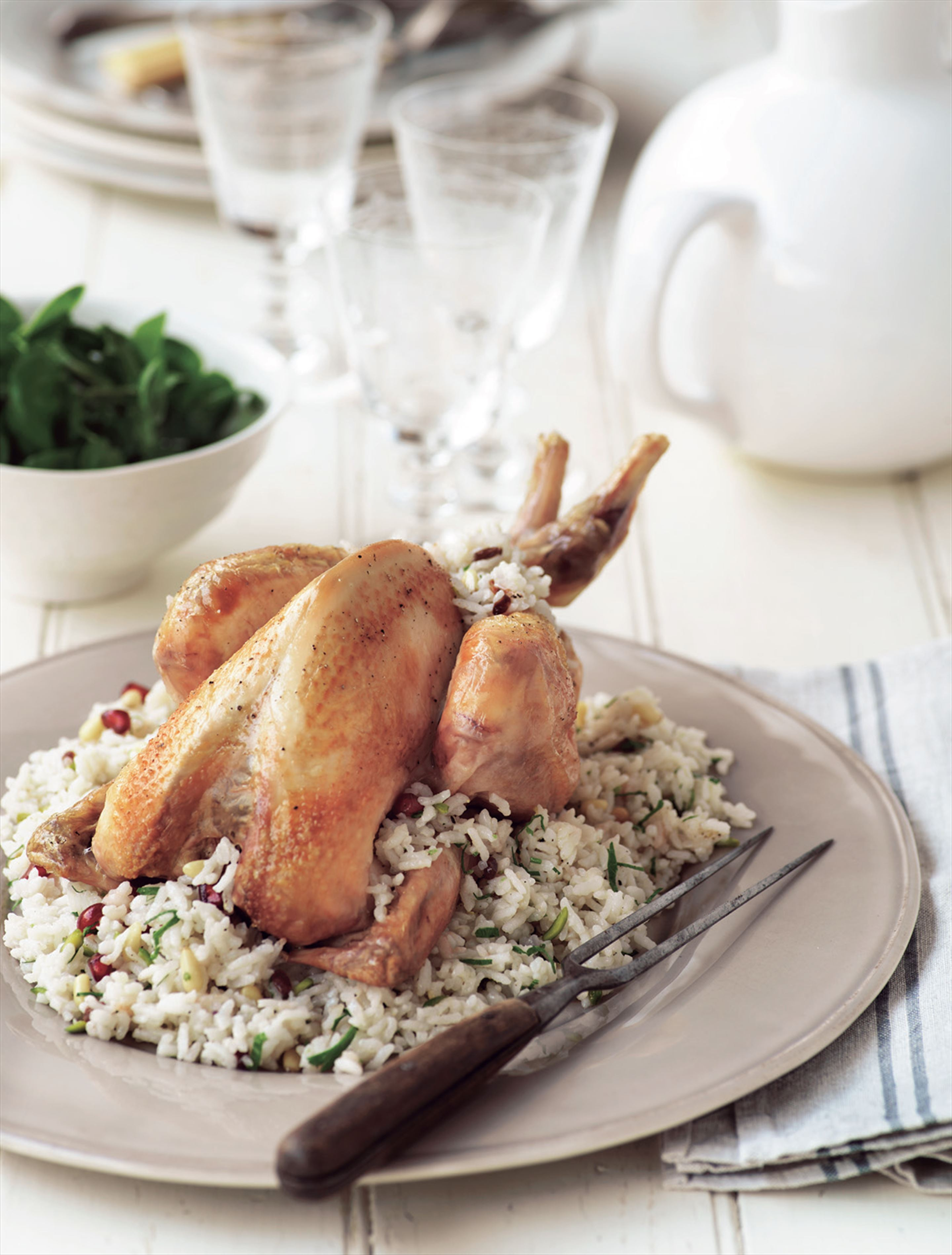 Roast chicken with pine nut and barberry pilav stuffing