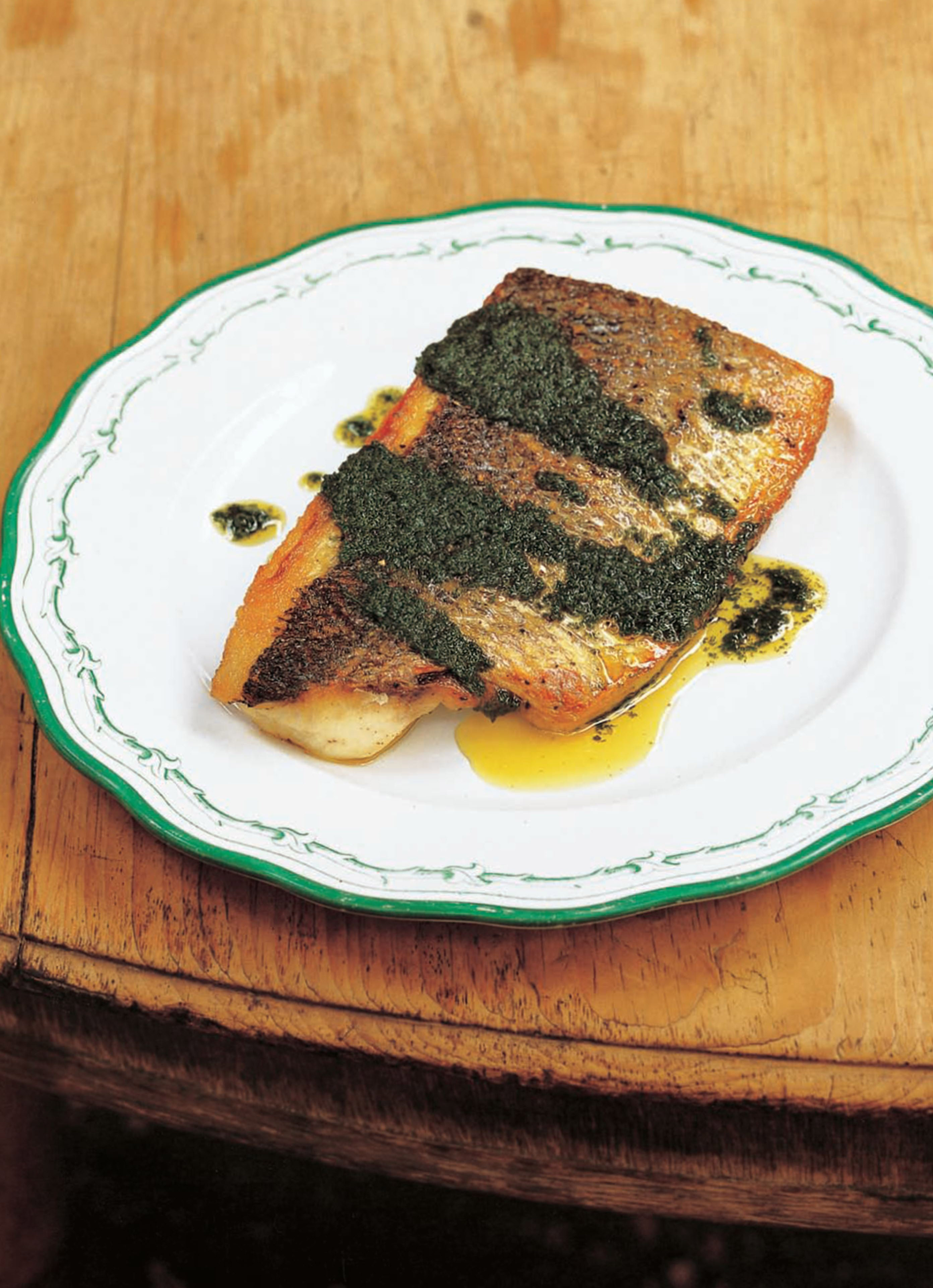 Wild sea bass with salmoriglio