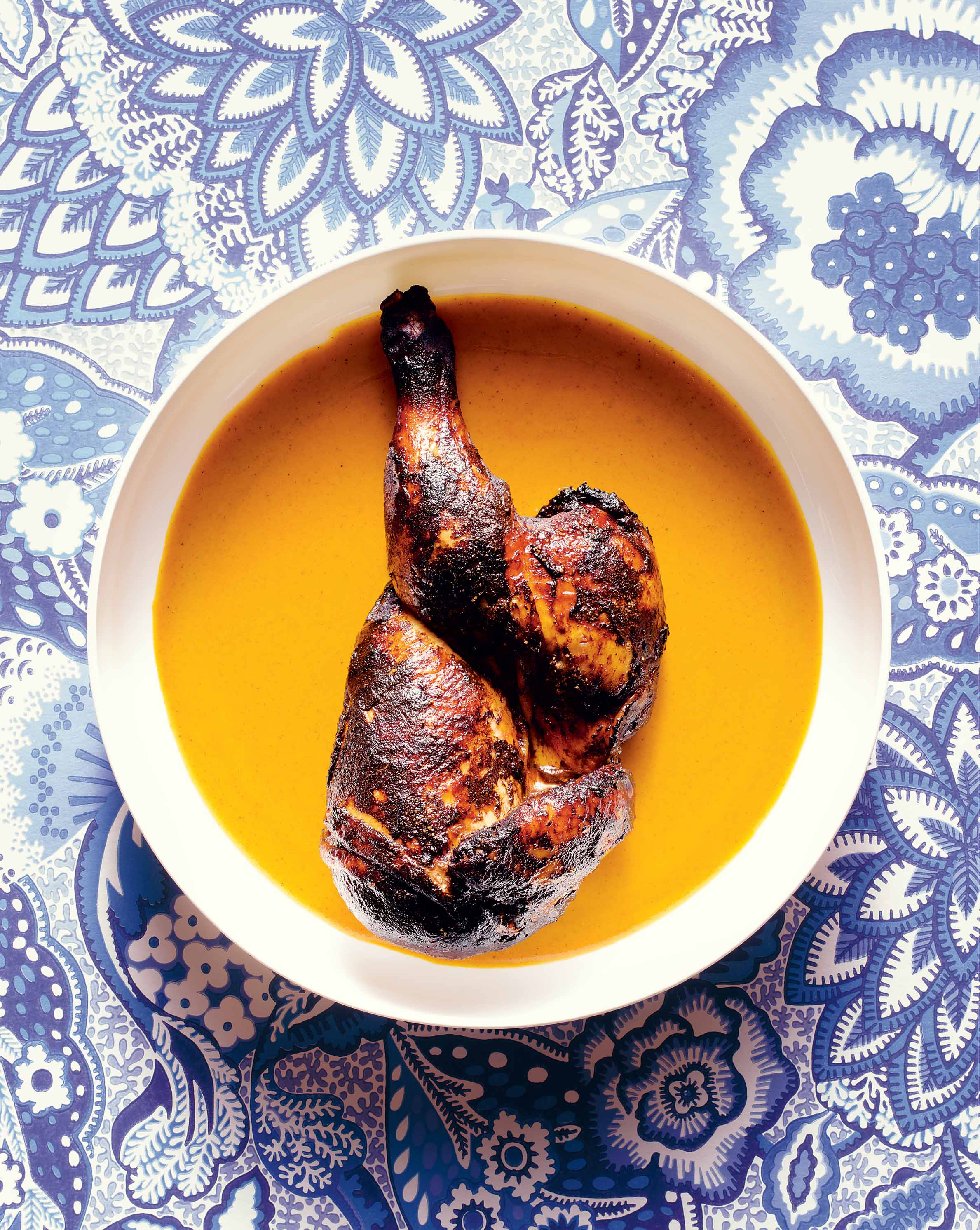 Barbecued chicken with yellow mustard sauce