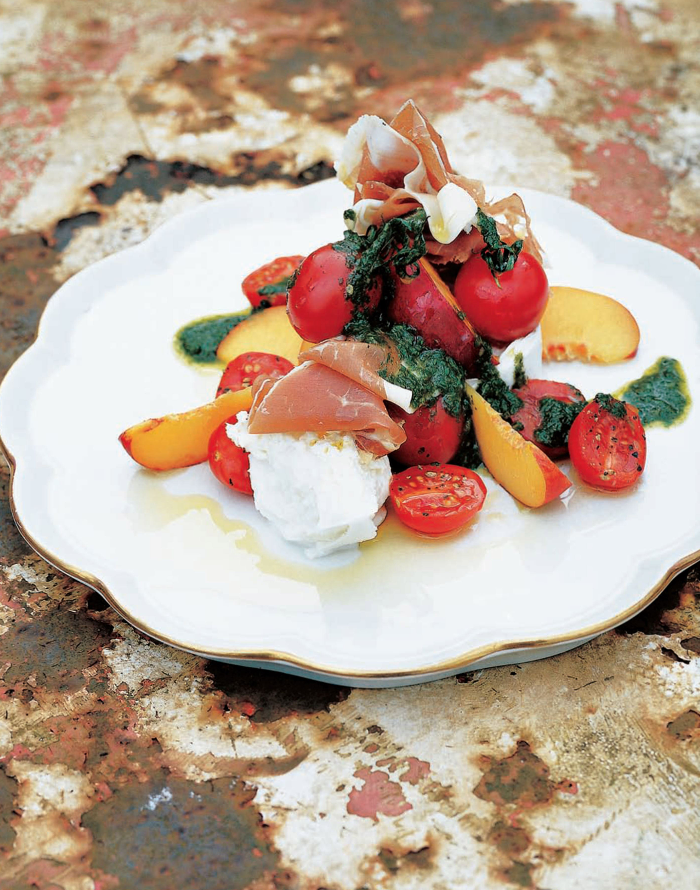 Nectarine and tomato salad with parma ham and buffalo mozzarella