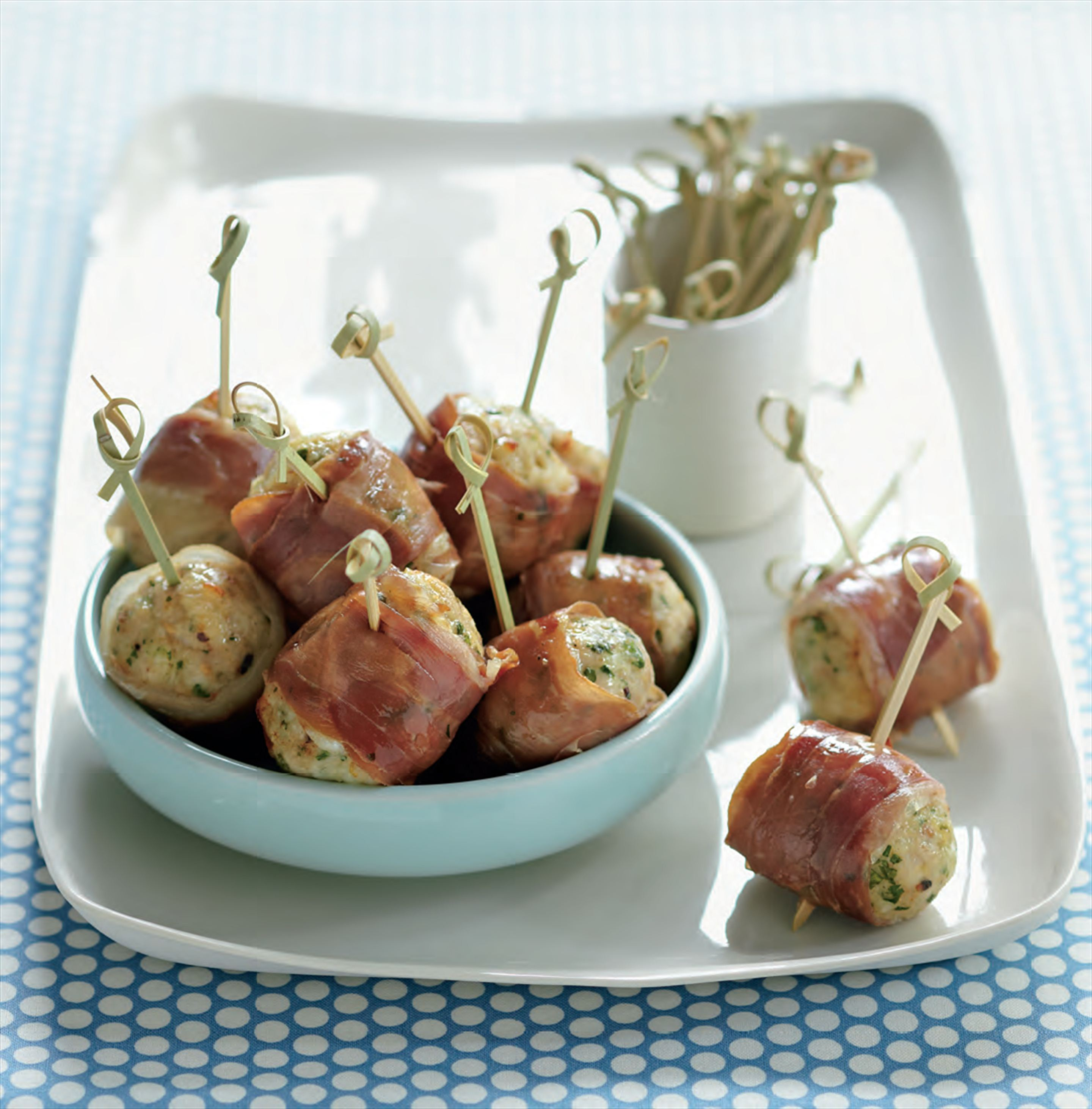 Chicken meatballs wrapped in prosciutto