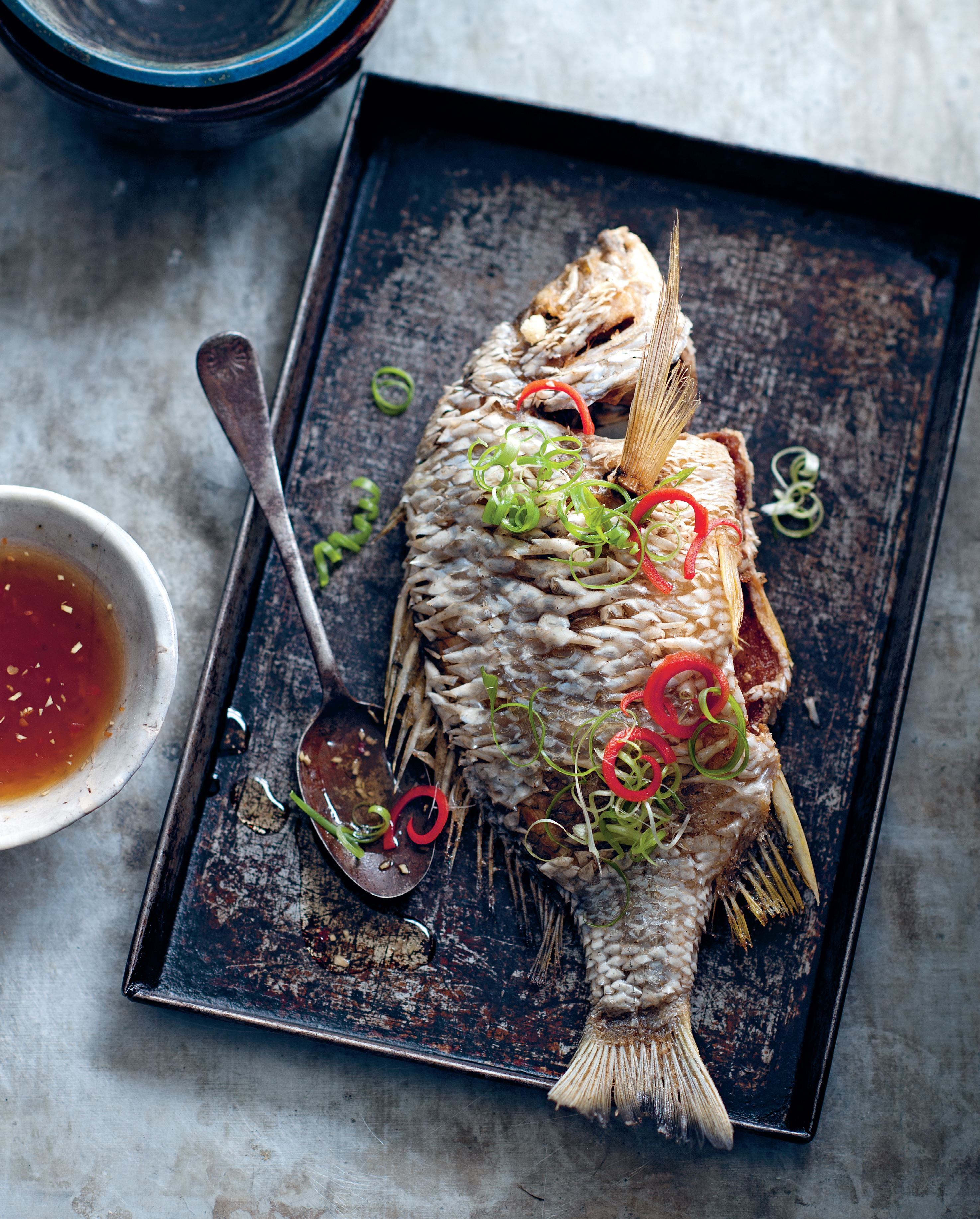 Crispy fried elephant fish with ginger fish sauce