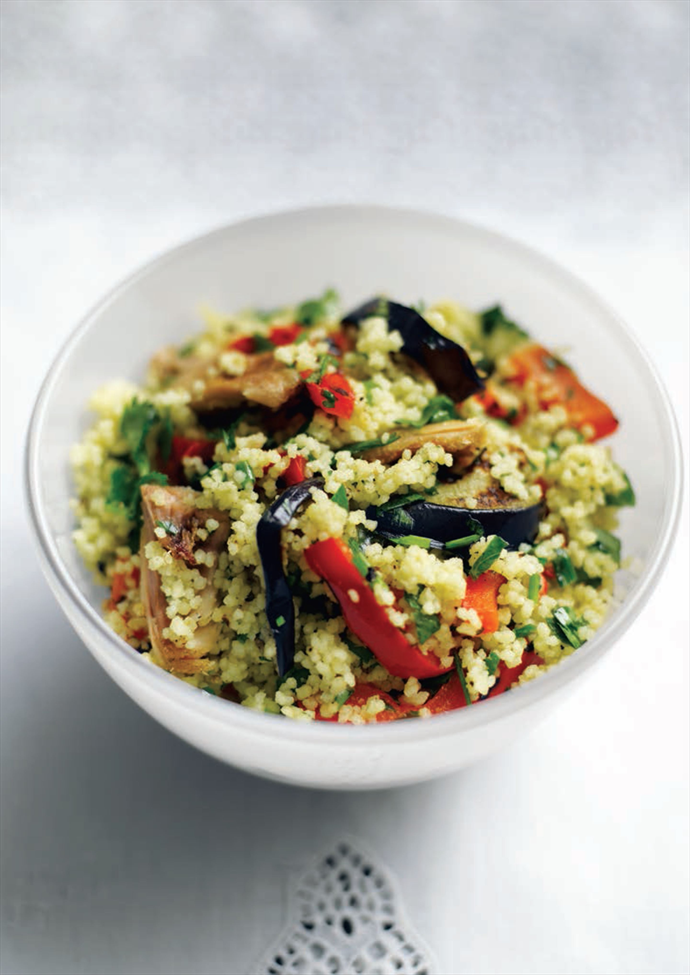 Chargrilled chicken, pepper and herb couscous salad