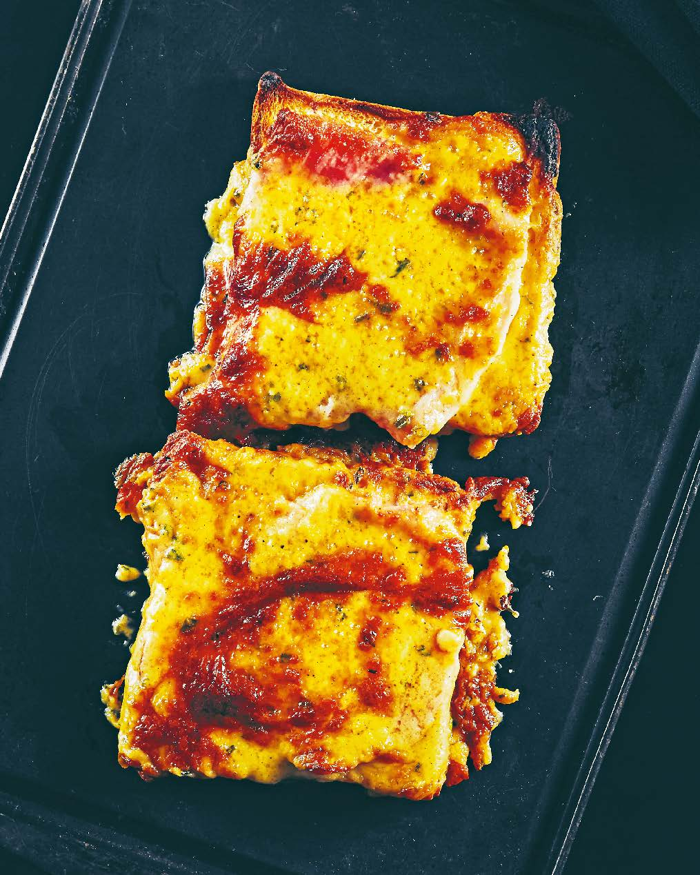 Two-cheese Welsh rarebit with smoked ham + piccalilli