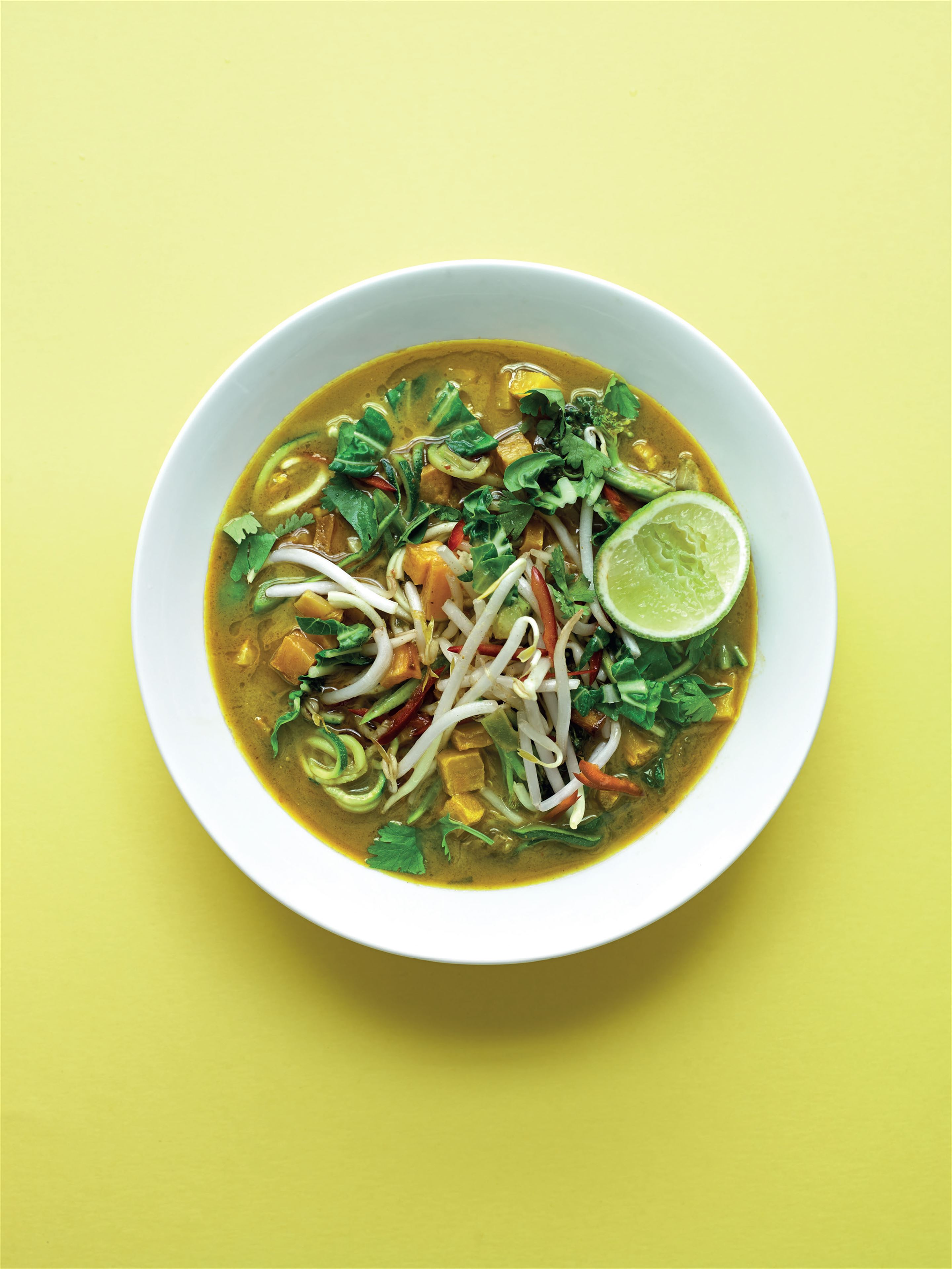Malaysian laksa with courgette 'noodles'