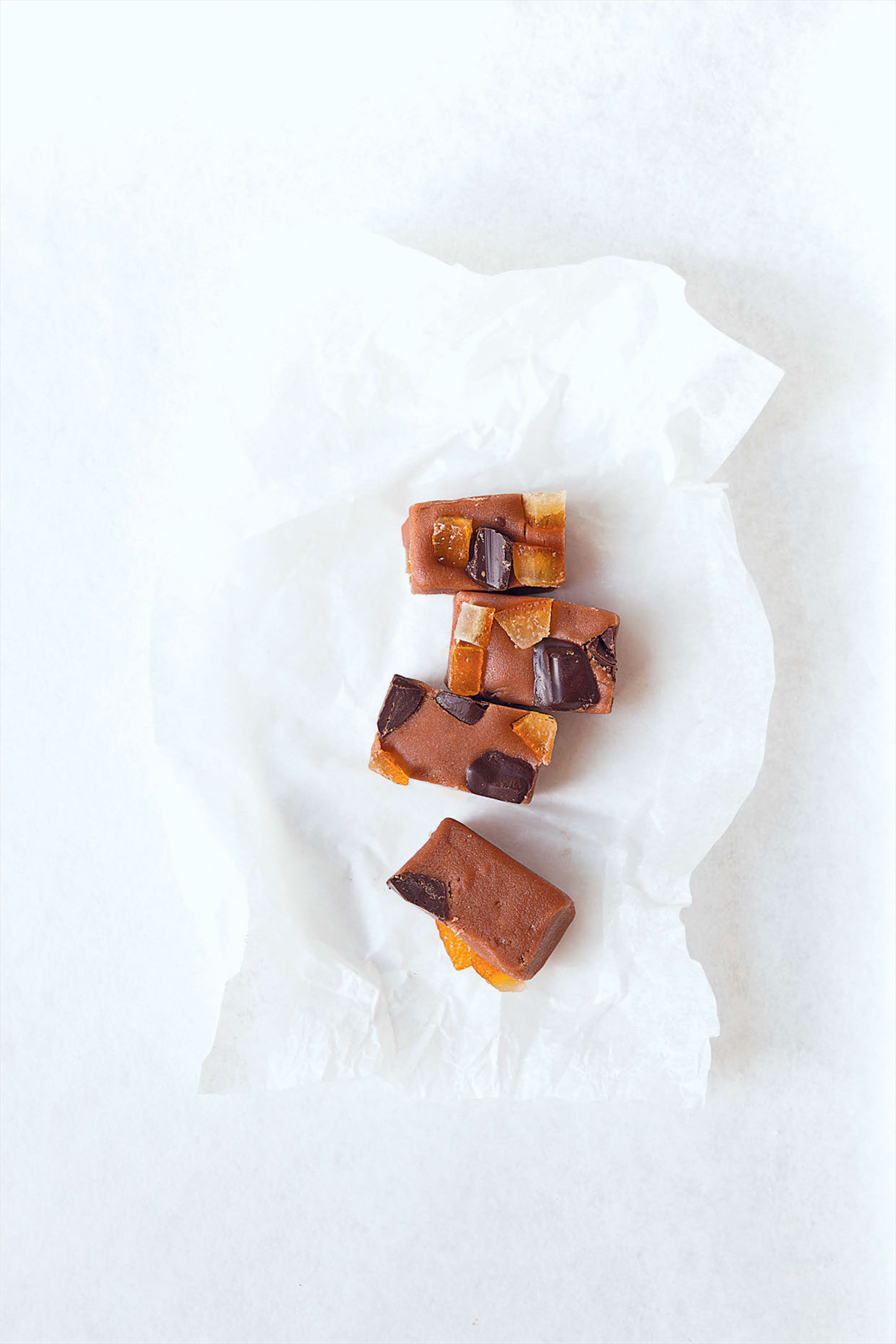Dark chocolate fudge with candied orange