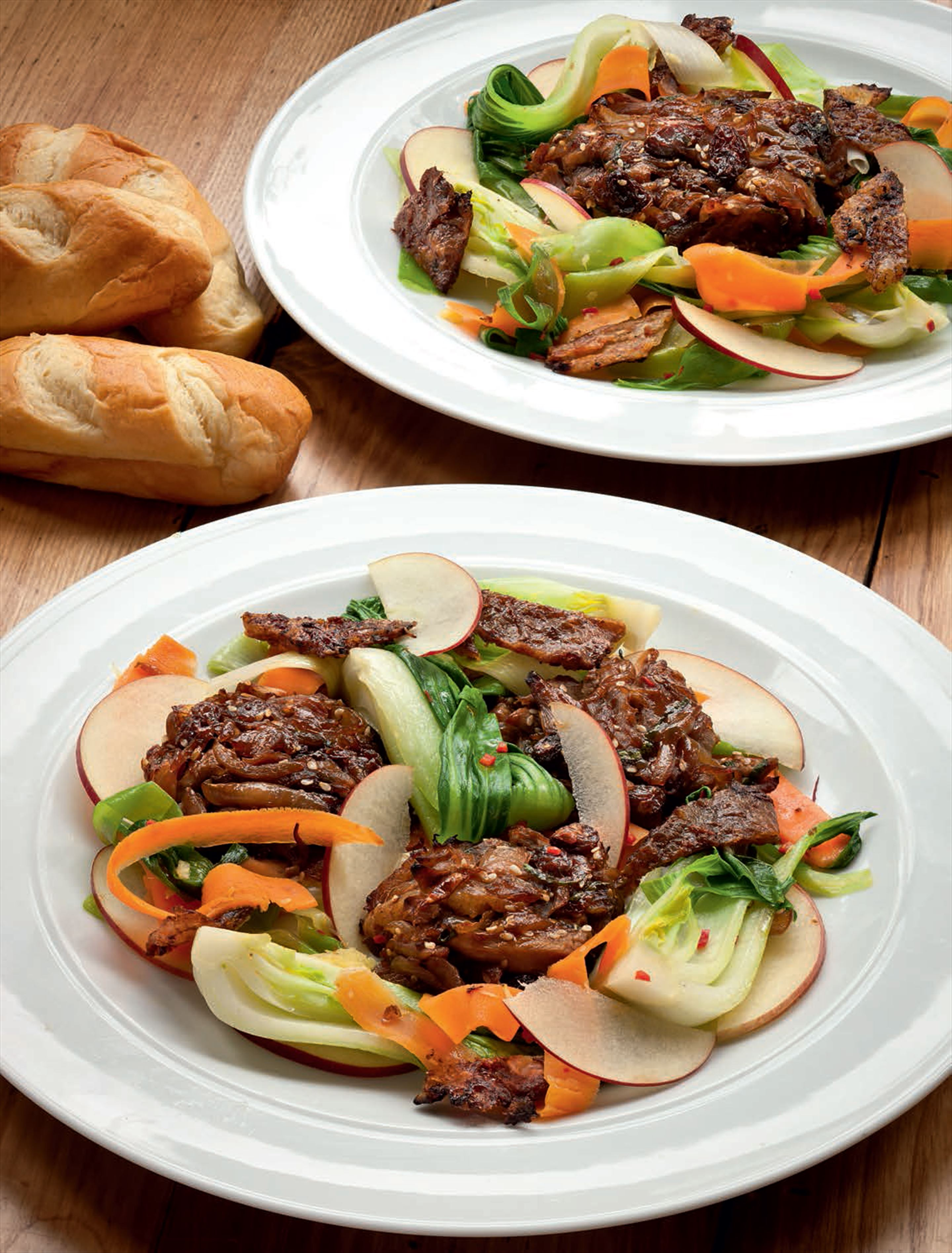 Duck patties with hoisin sauce & stir-fried vegetables