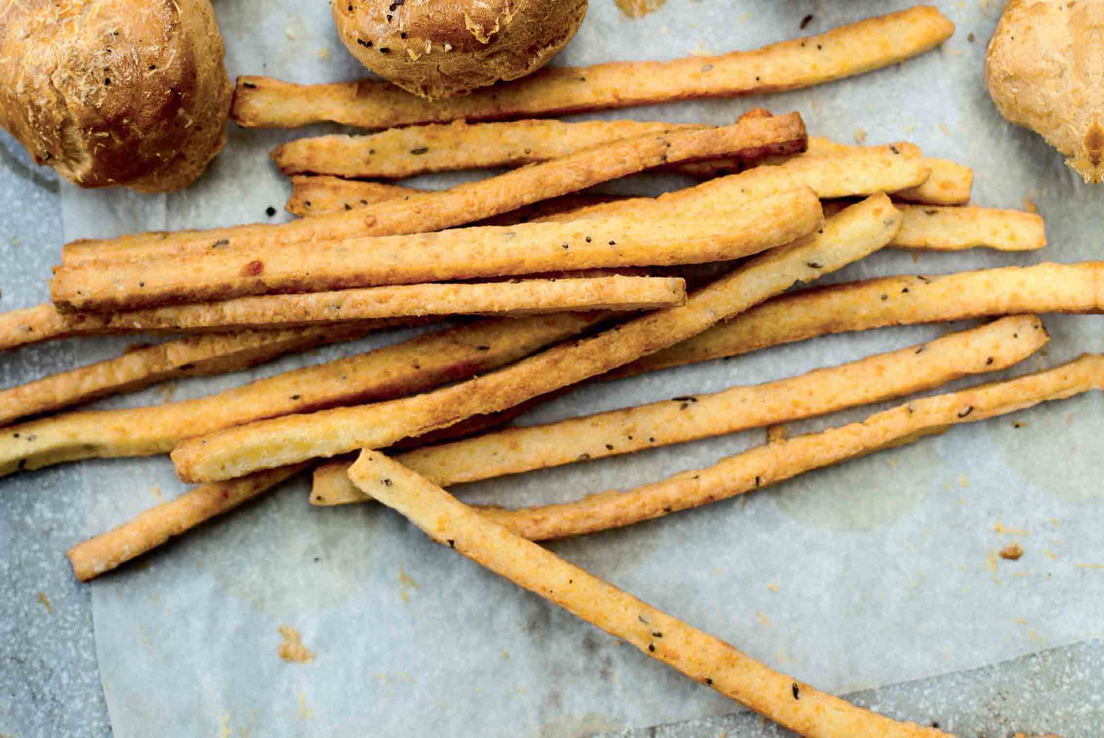 Cheddar cheese straws with caraway