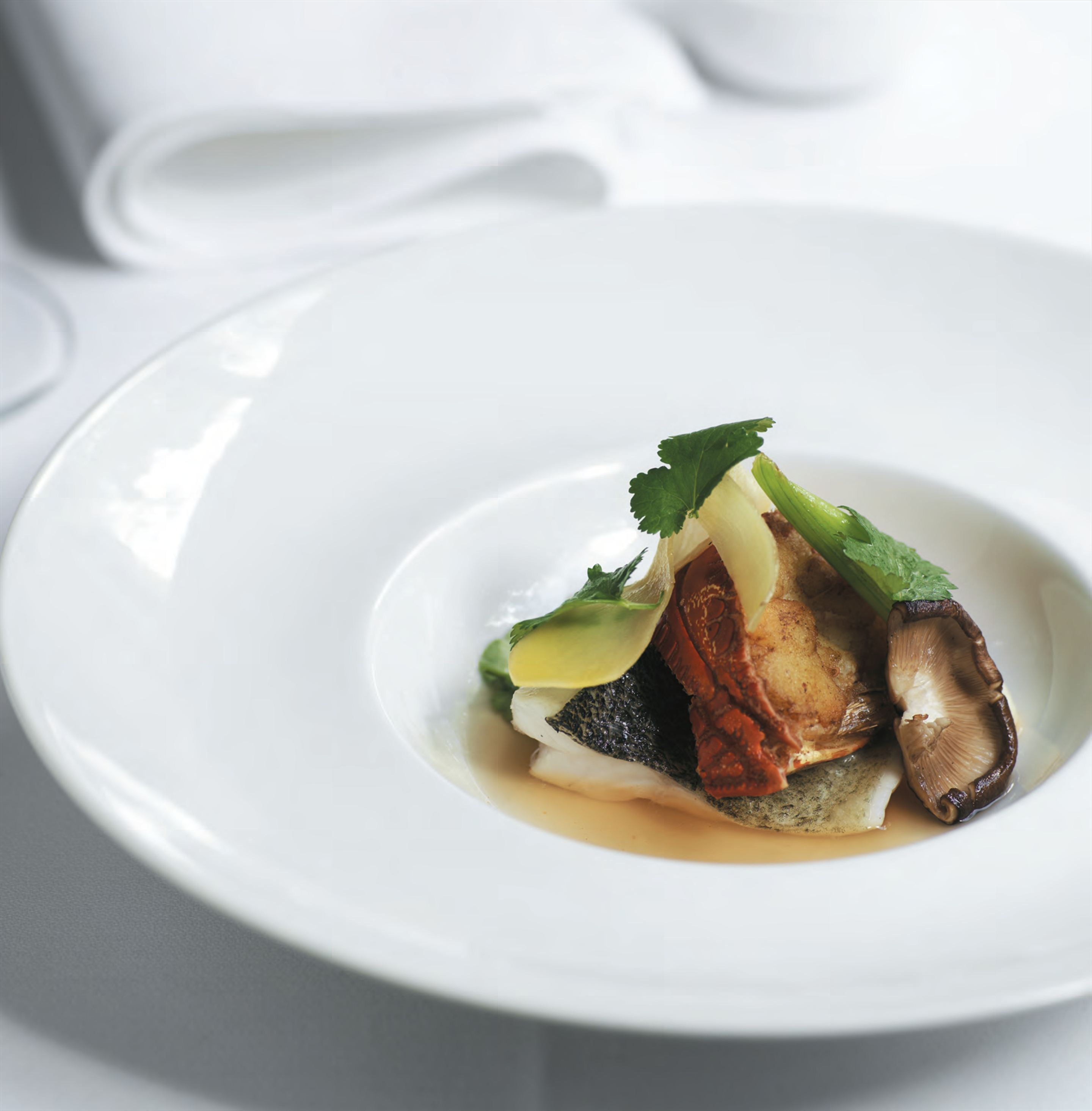 Steamed Murray cod with roasted lobster consommé and young ginger