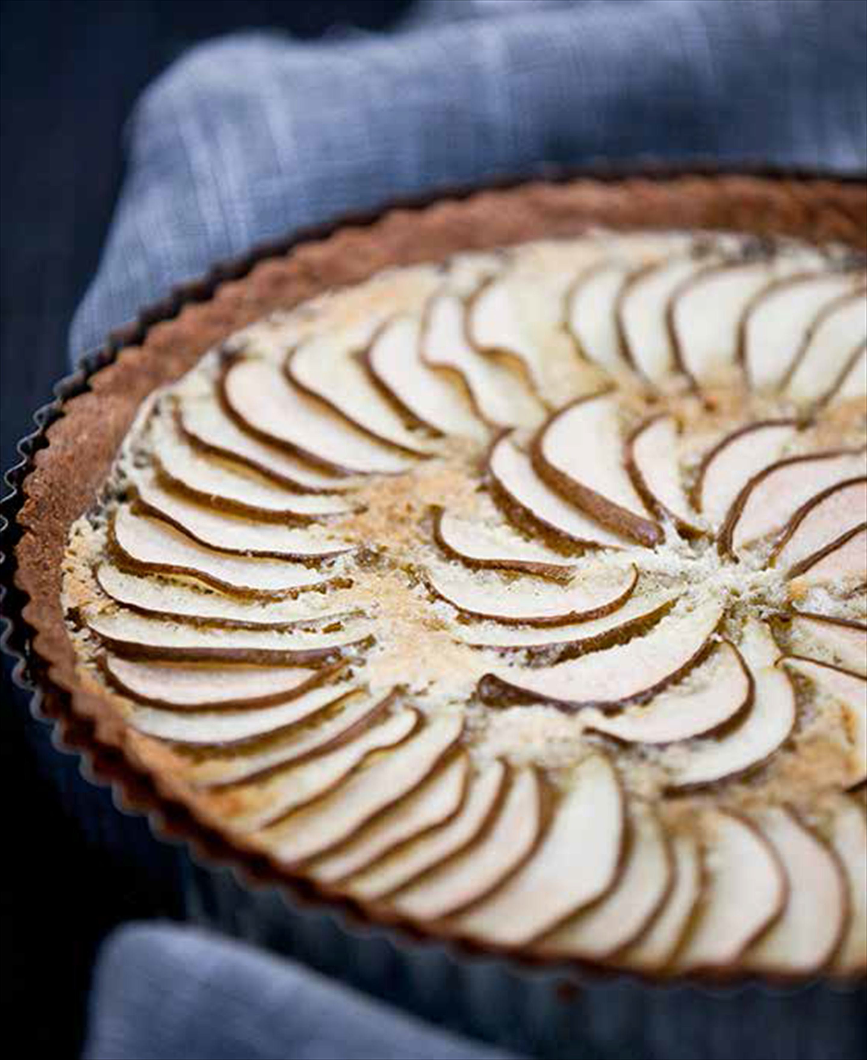 Autumn pear and nut tart