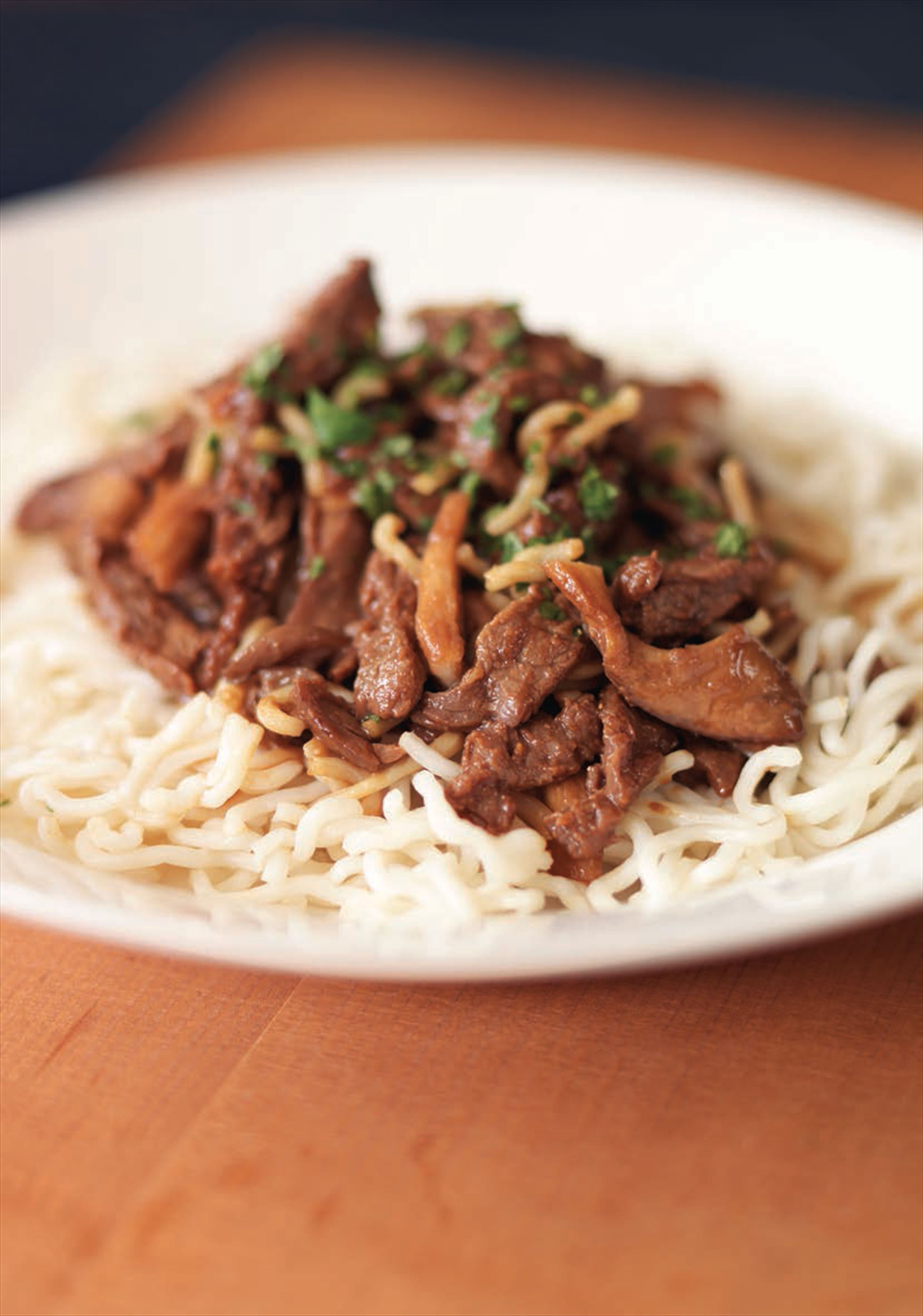 Miso beef stir-fry with noodles