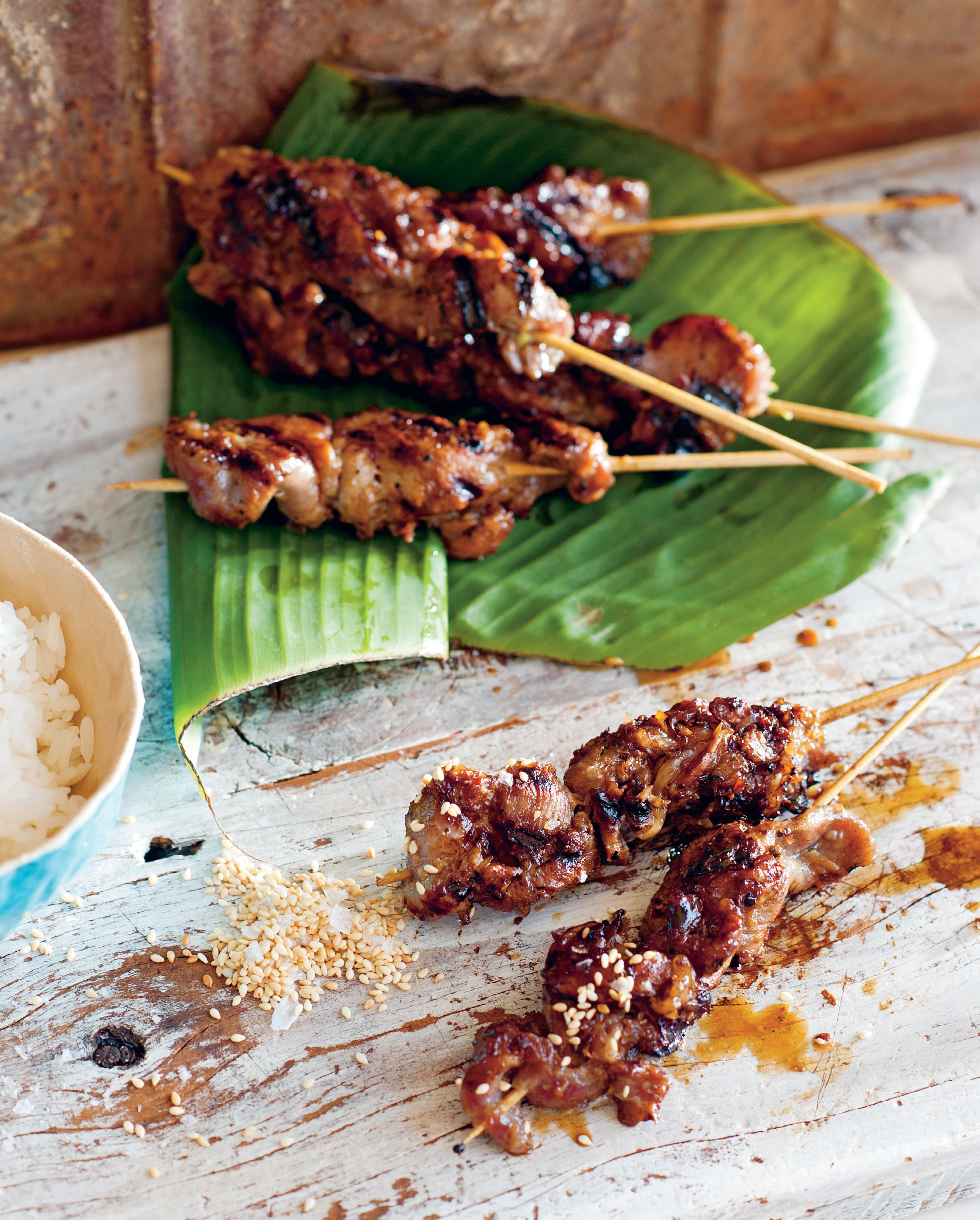 Chargrilled Hmong black pig skewers with sesame salt