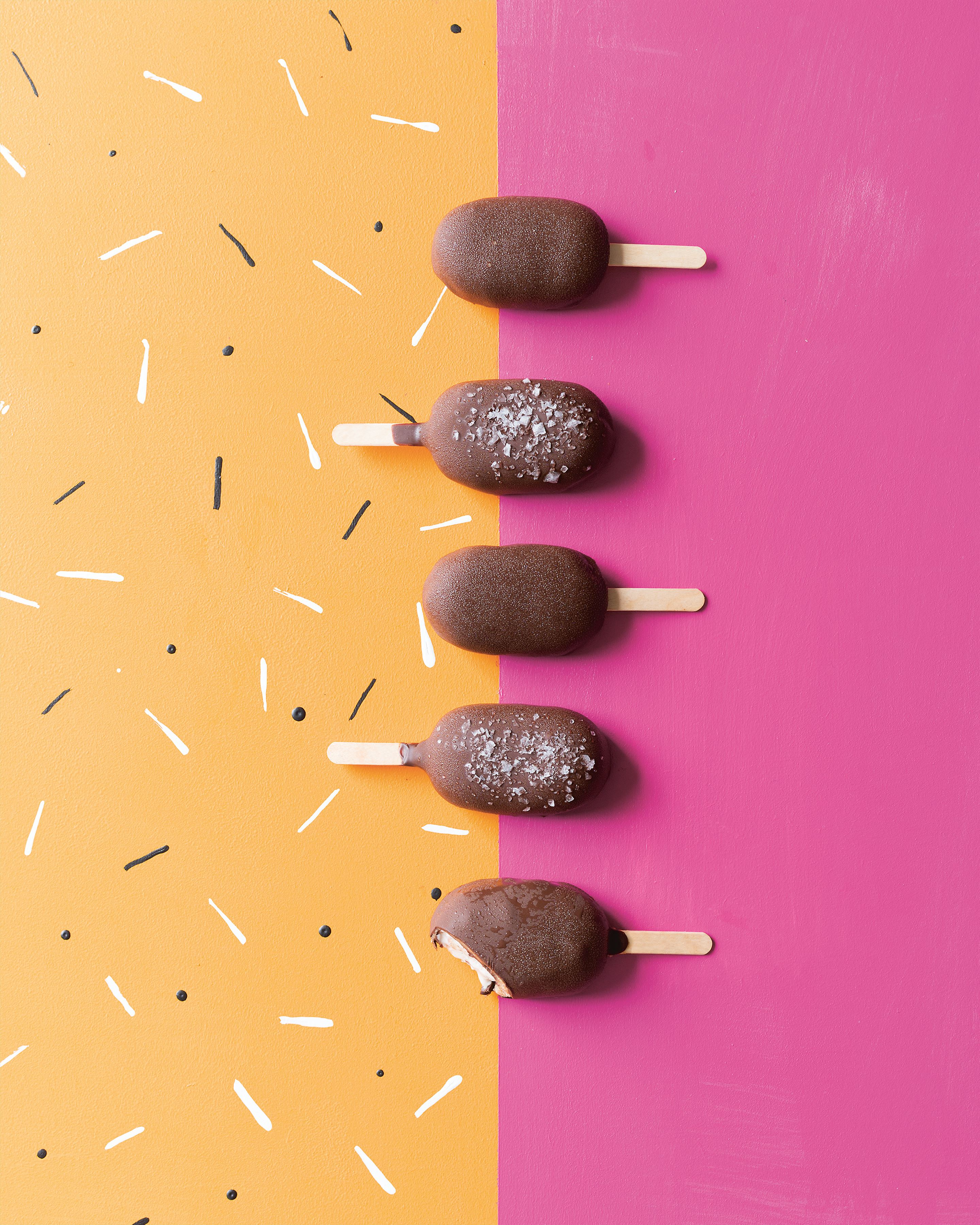 Double chocolate salted caramel nice-cream lollies