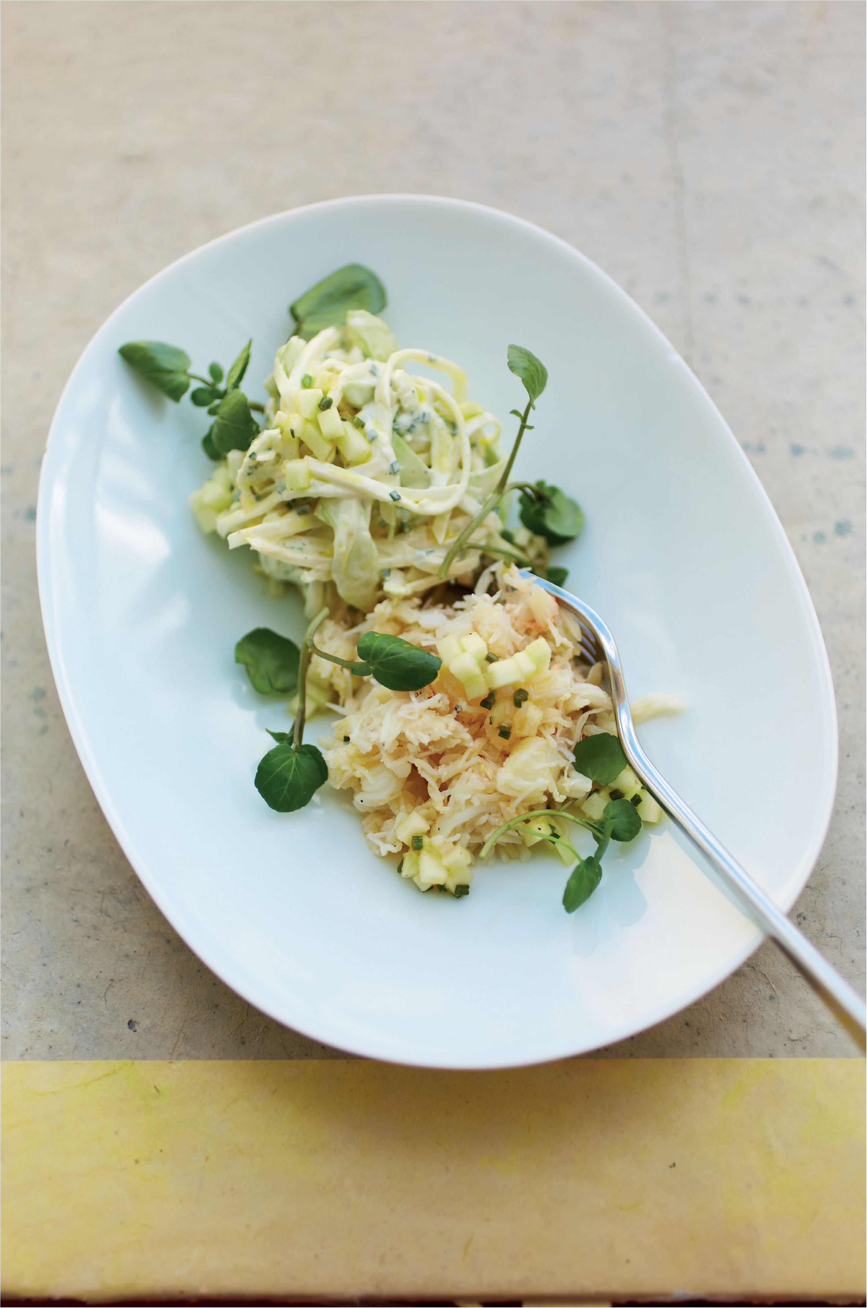 Crab with celeriac and apple salad