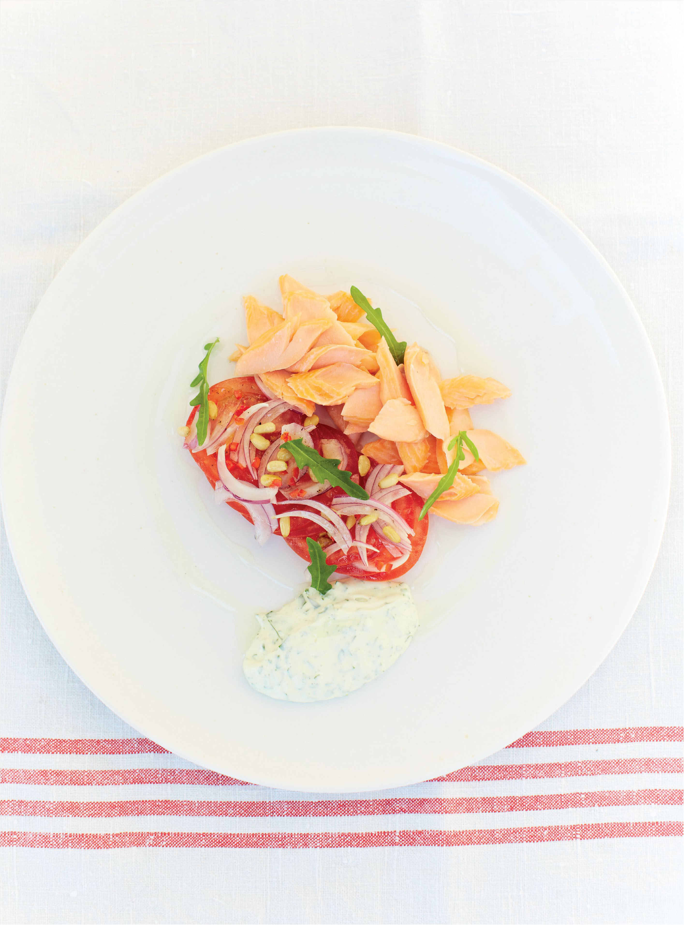 Smoked trout and tomatoes with horseradish and rocket mayonnaise
