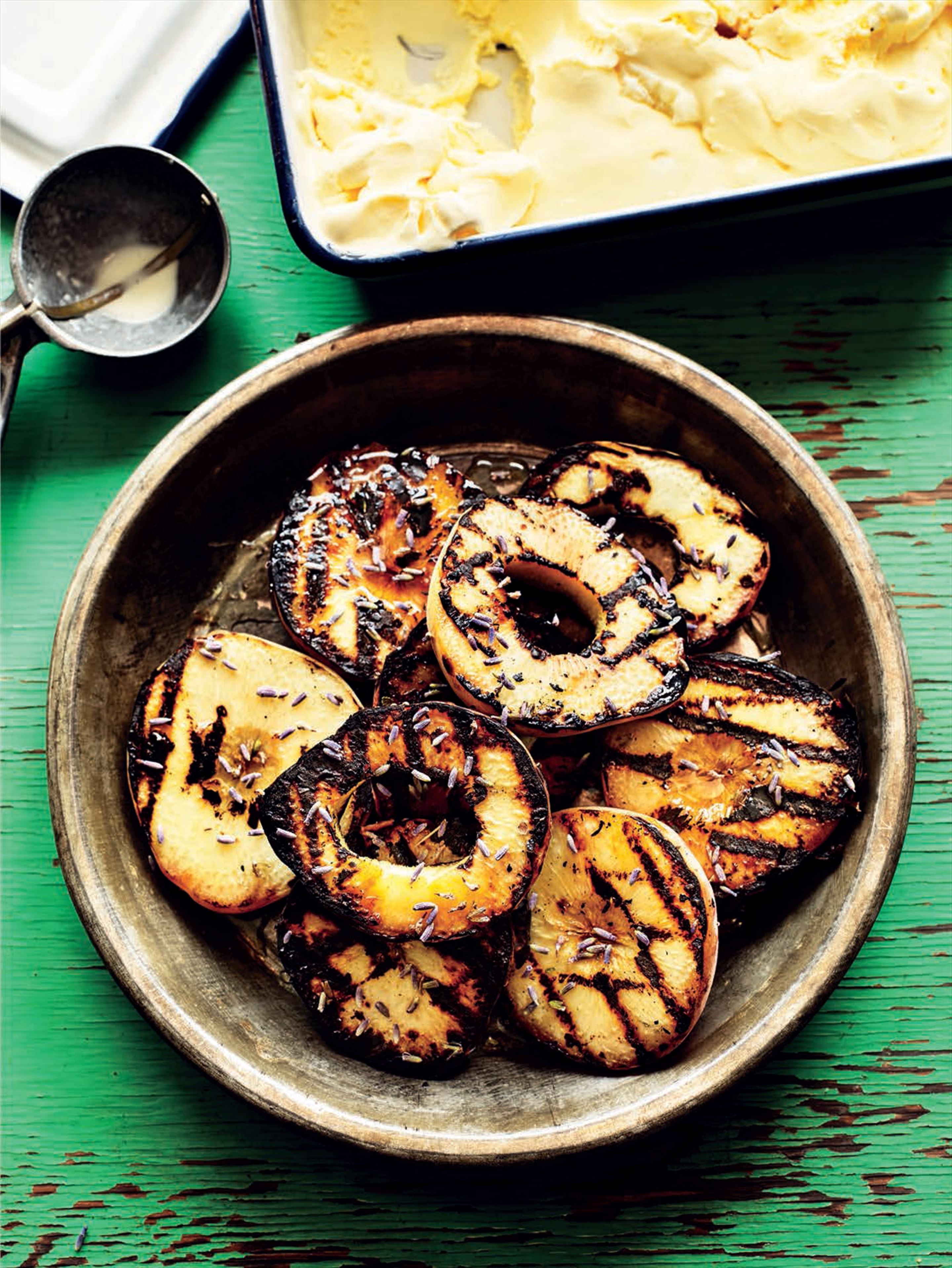 Charcoal-grilled peaches with lavender honey and mascarpone ice cream