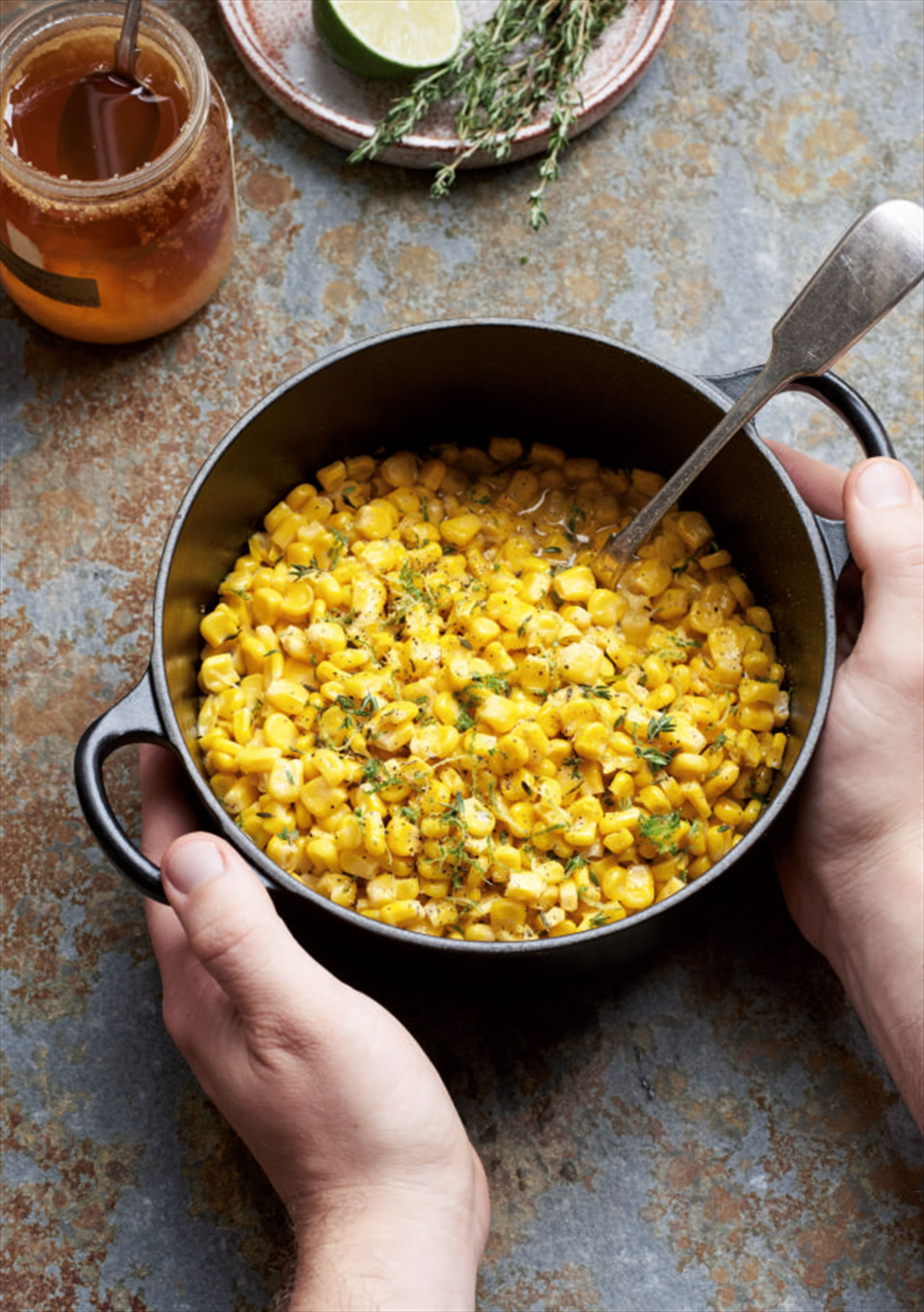 Honey, thyme and lime butter corn
