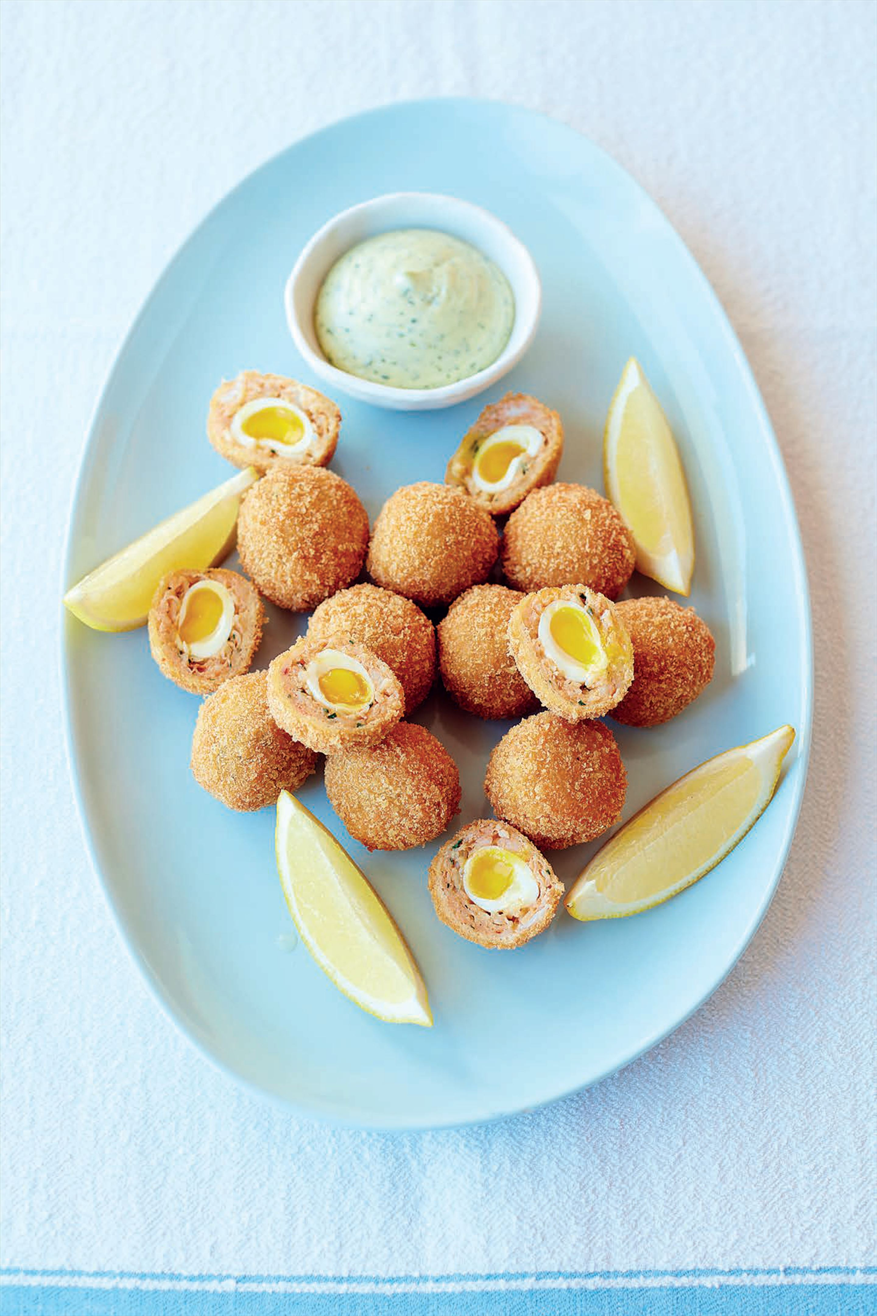 Crab Scotch quail's eggs with watercress mayonnaise
