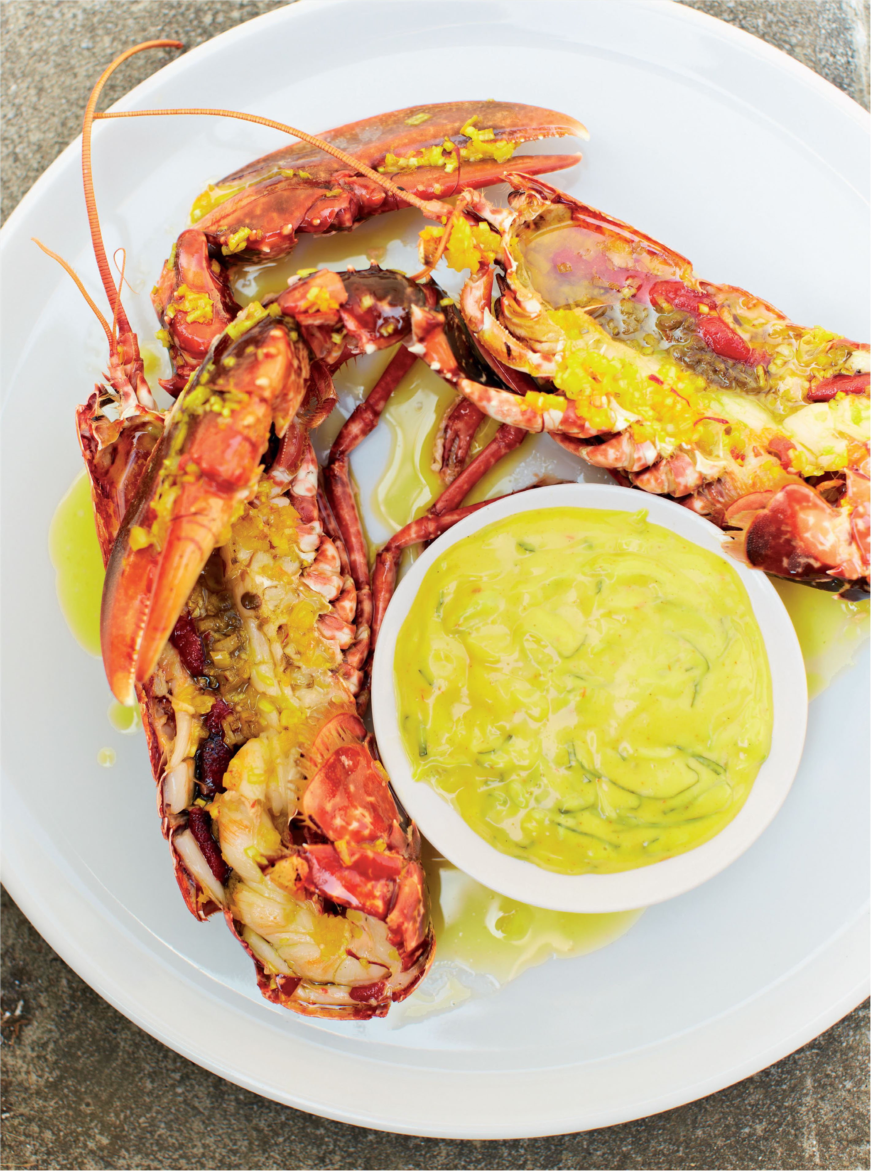 Smoked lobster with saffron and basil mayonnaise