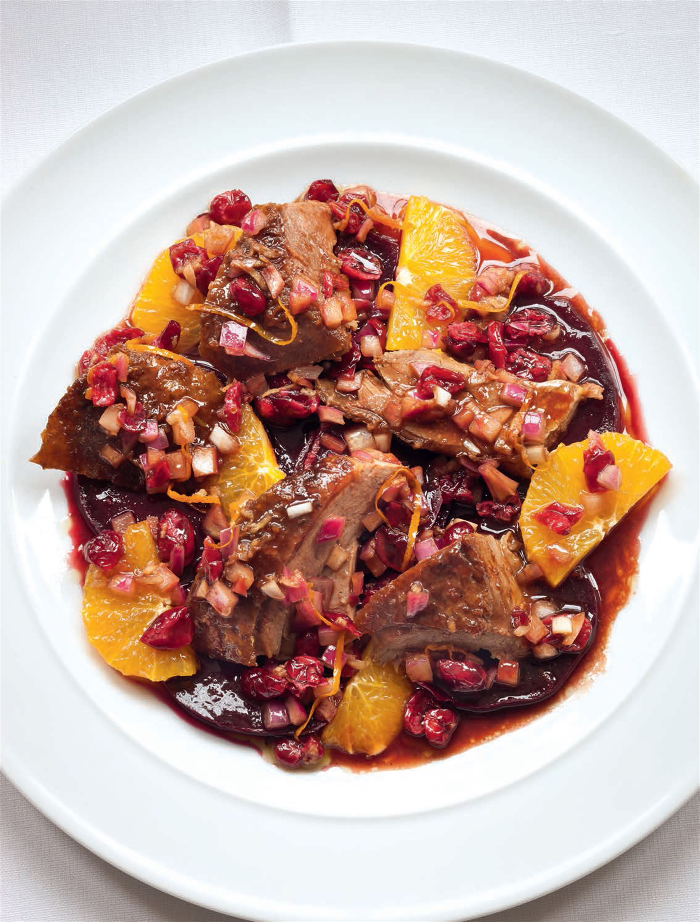 Warm duck, beetroot & orange salad with cranberry salsa