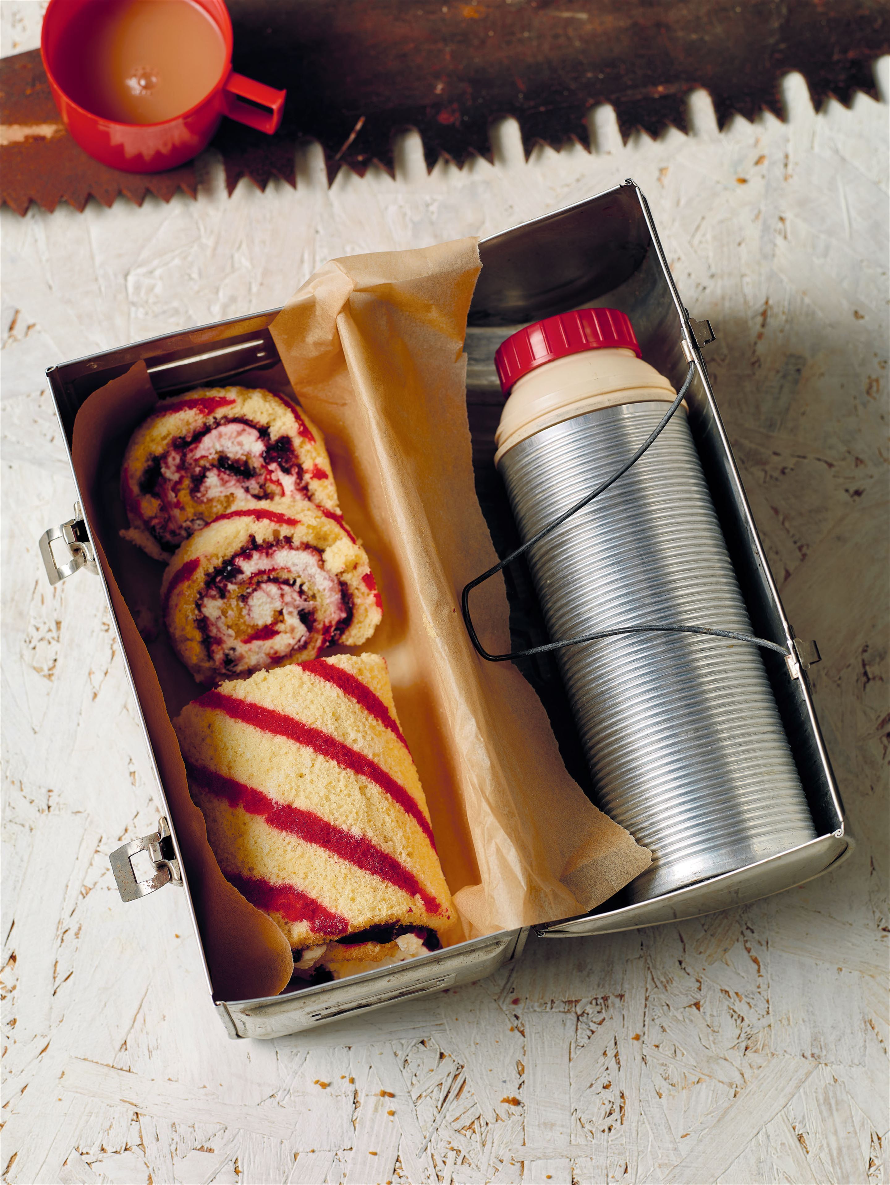 Cherry and almond Swiss roll