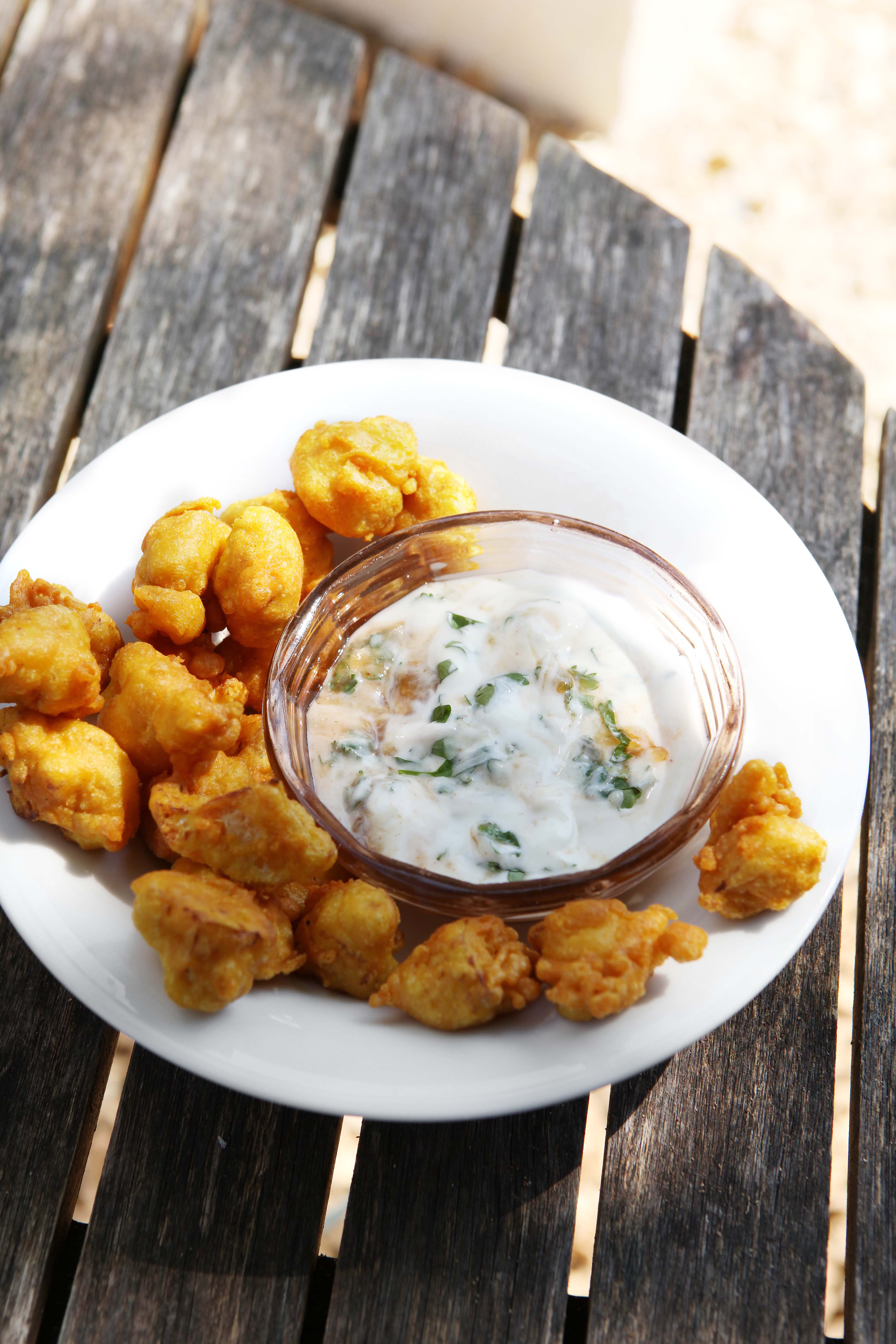 River Cottage's Cauliflower pakoras with tamarind raita