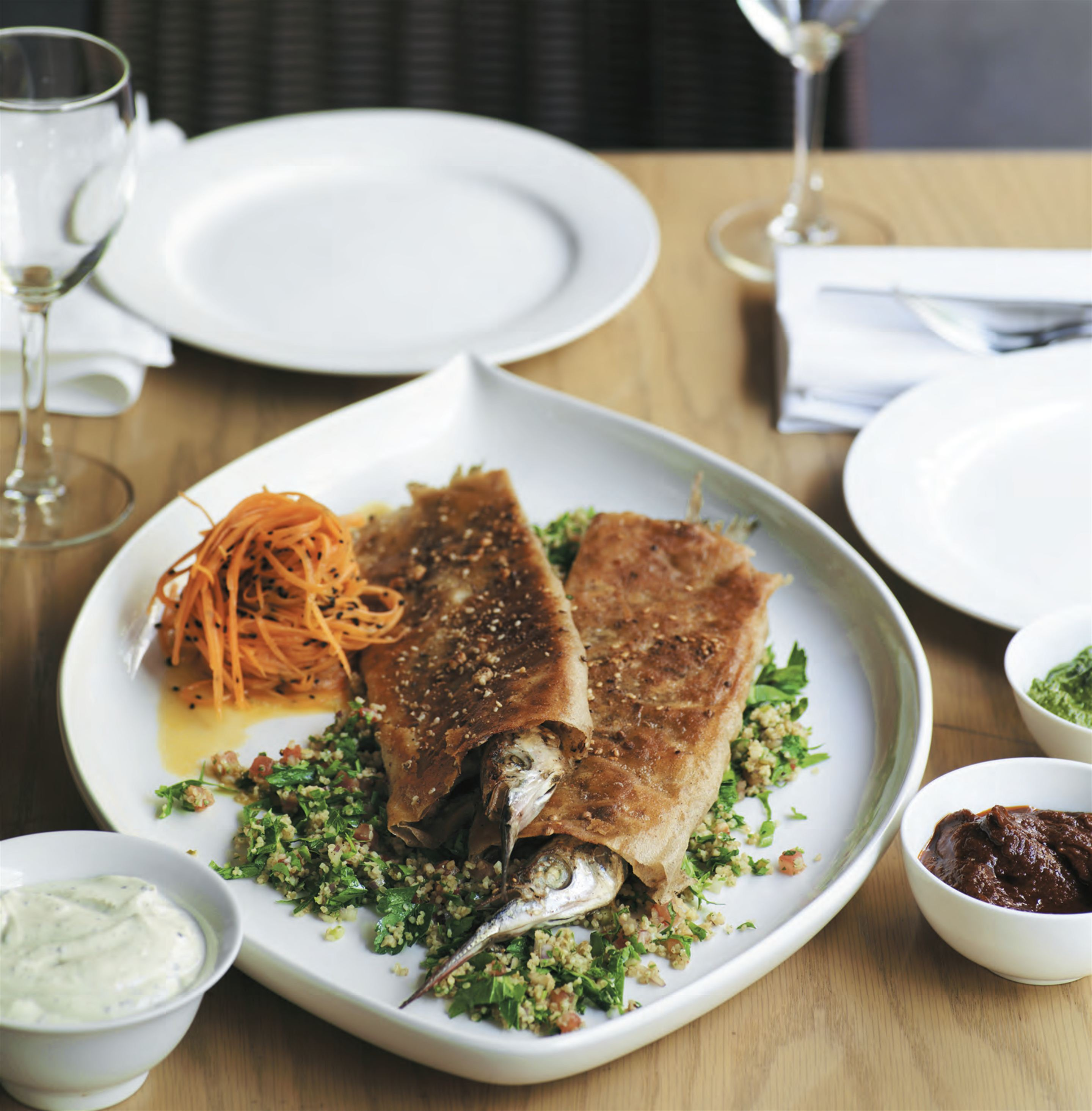 Brik pastry wrapped garfish with tabbouleh and Moroccan carrot salad
