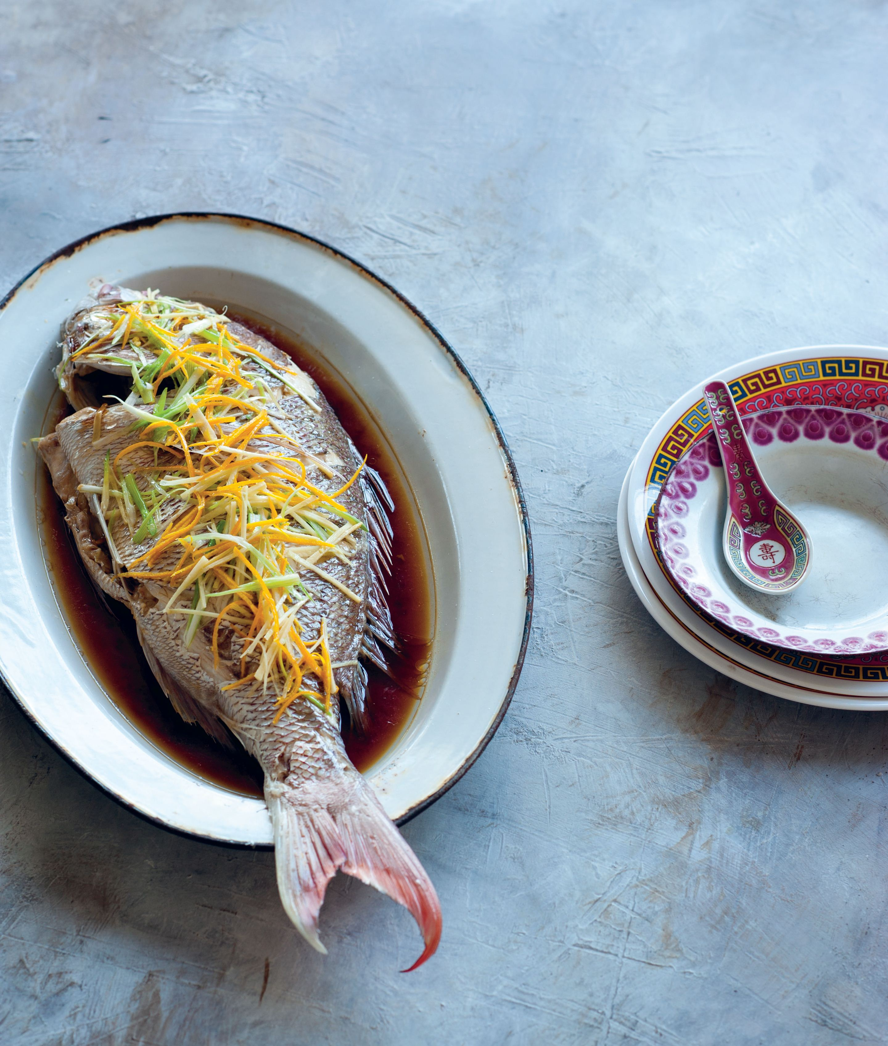 Steamed fish with ginger and orange