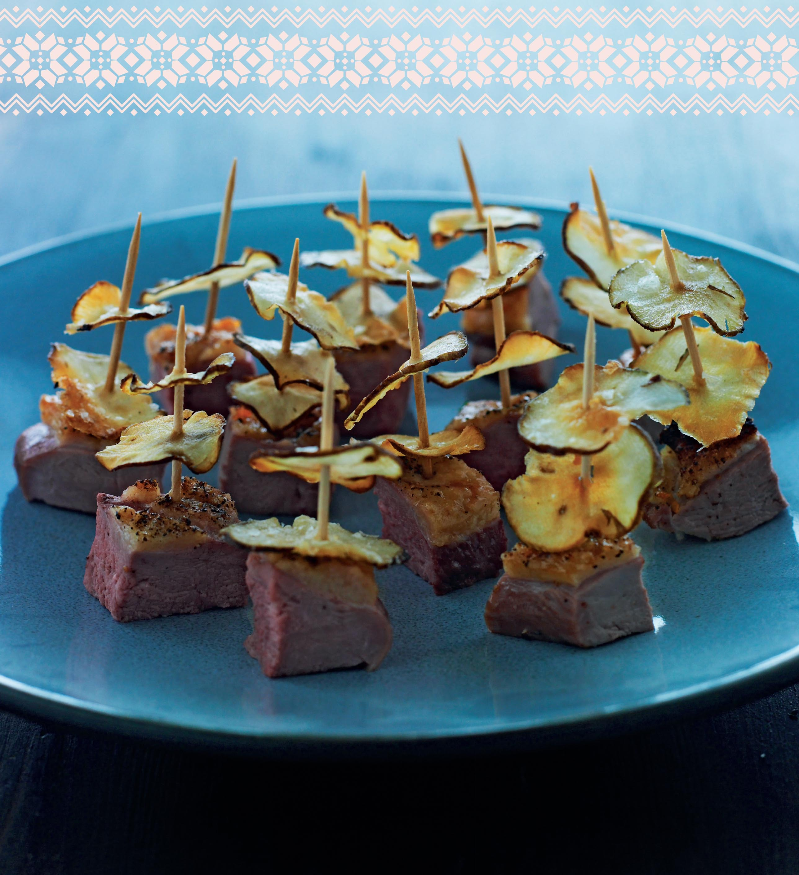 Lightly salted duck with Jerusalem artichoke crisps