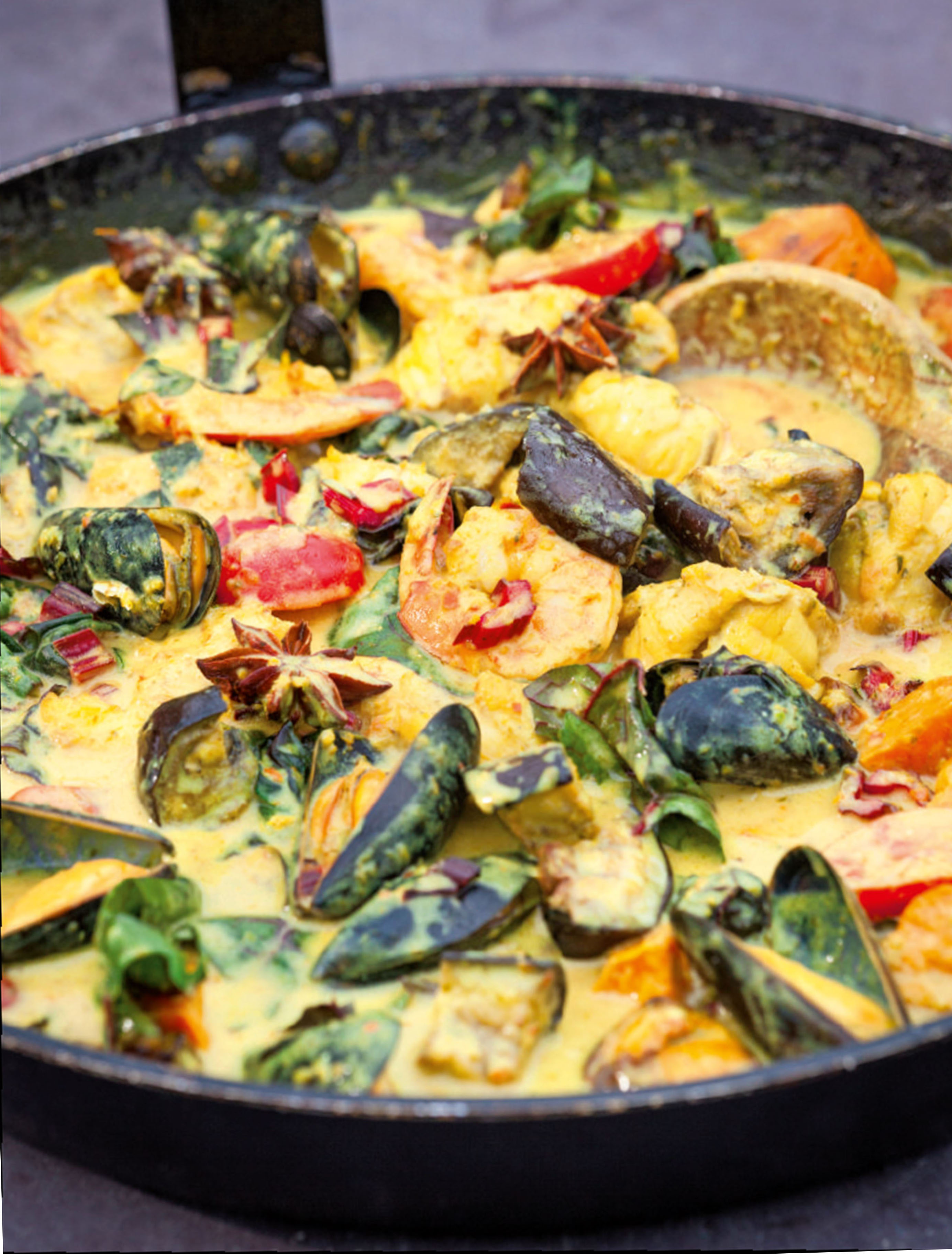 Indonesian monkfish curry with aubergine